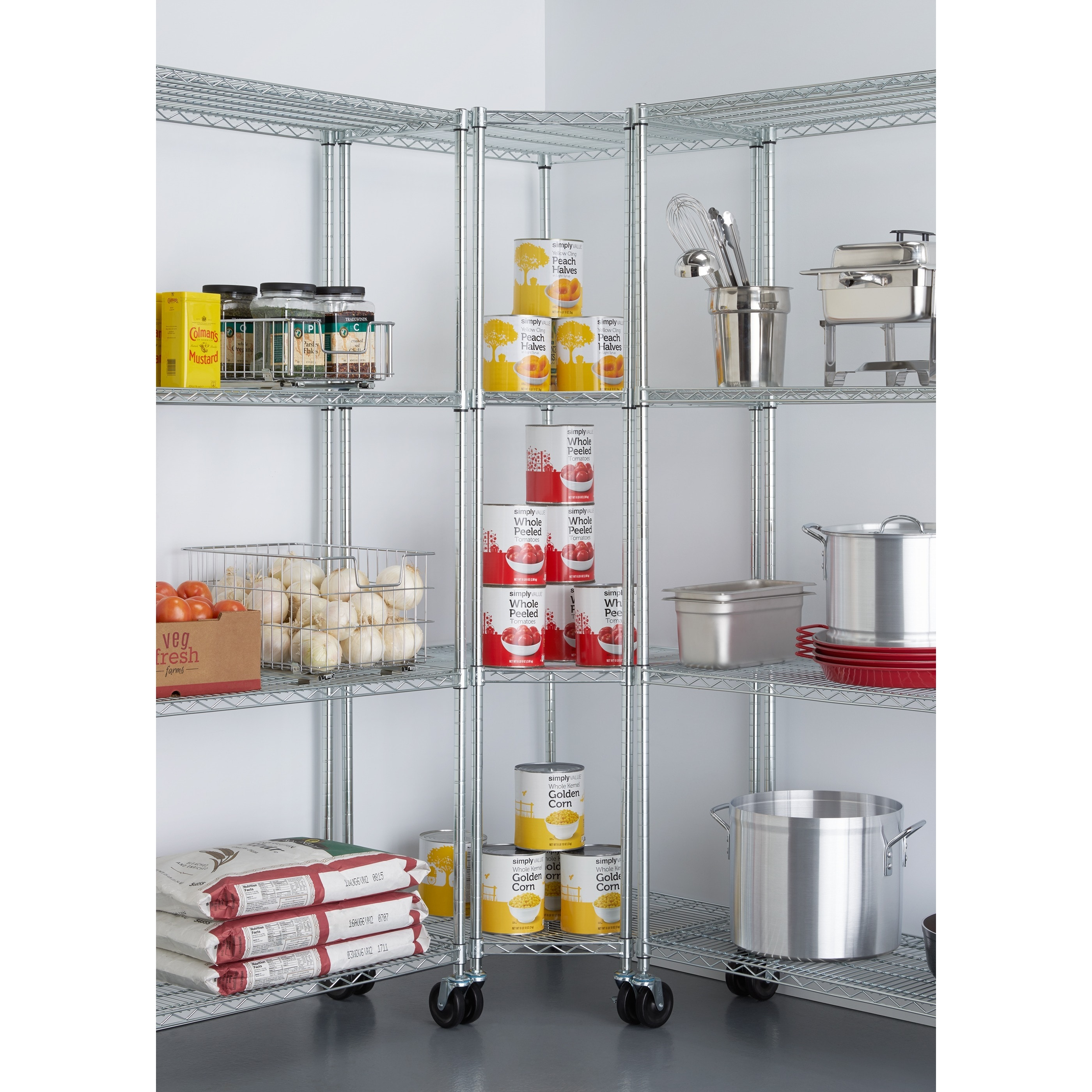 Shop TRINITY EcoStorage 4-tier Chrome Wire Wheeled Corner Shelving ...