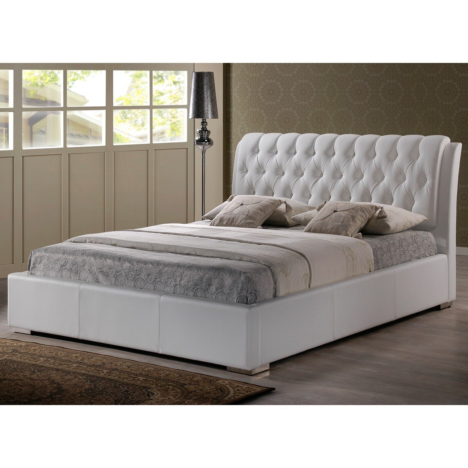 bianca modern tufted white king bed by baxton studio  free shipping today overstockcom  . bianca modern tufted white king bed by baxton studio  free