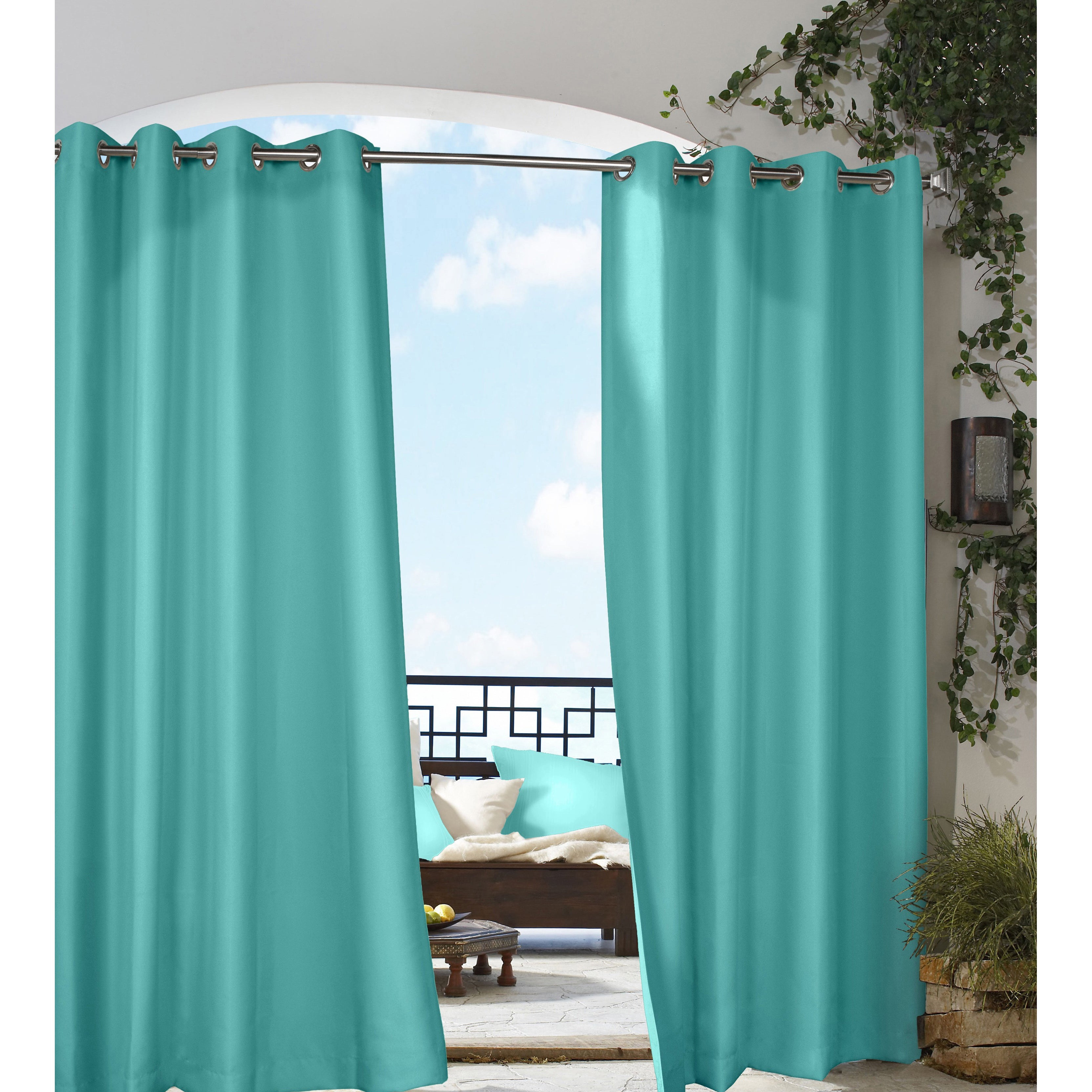 nickel sunbrella xx cheap curtain black with dfohome grommets curtains outdoor canvas grommet n plated