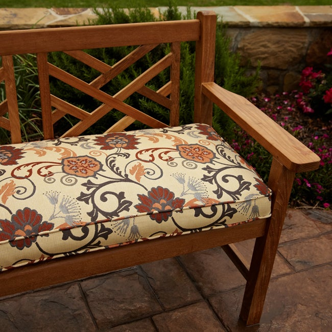 Shop Clara Grey/ Rust Indoor/outdoor 60 Inch Sunbrella Fabric Bench Cushion    Free Shipping Today   Overstock.com   6678490