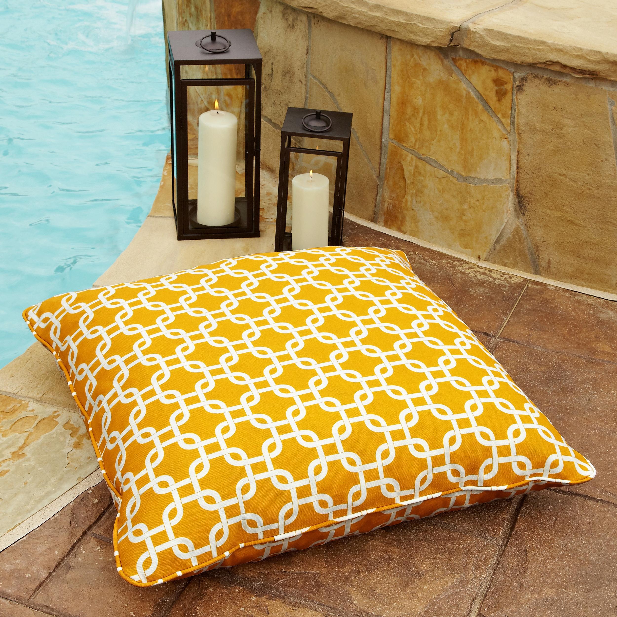 Penelope Yellow 26-inch Square Indoor/ Outdoor Floor Pillow - Free ...