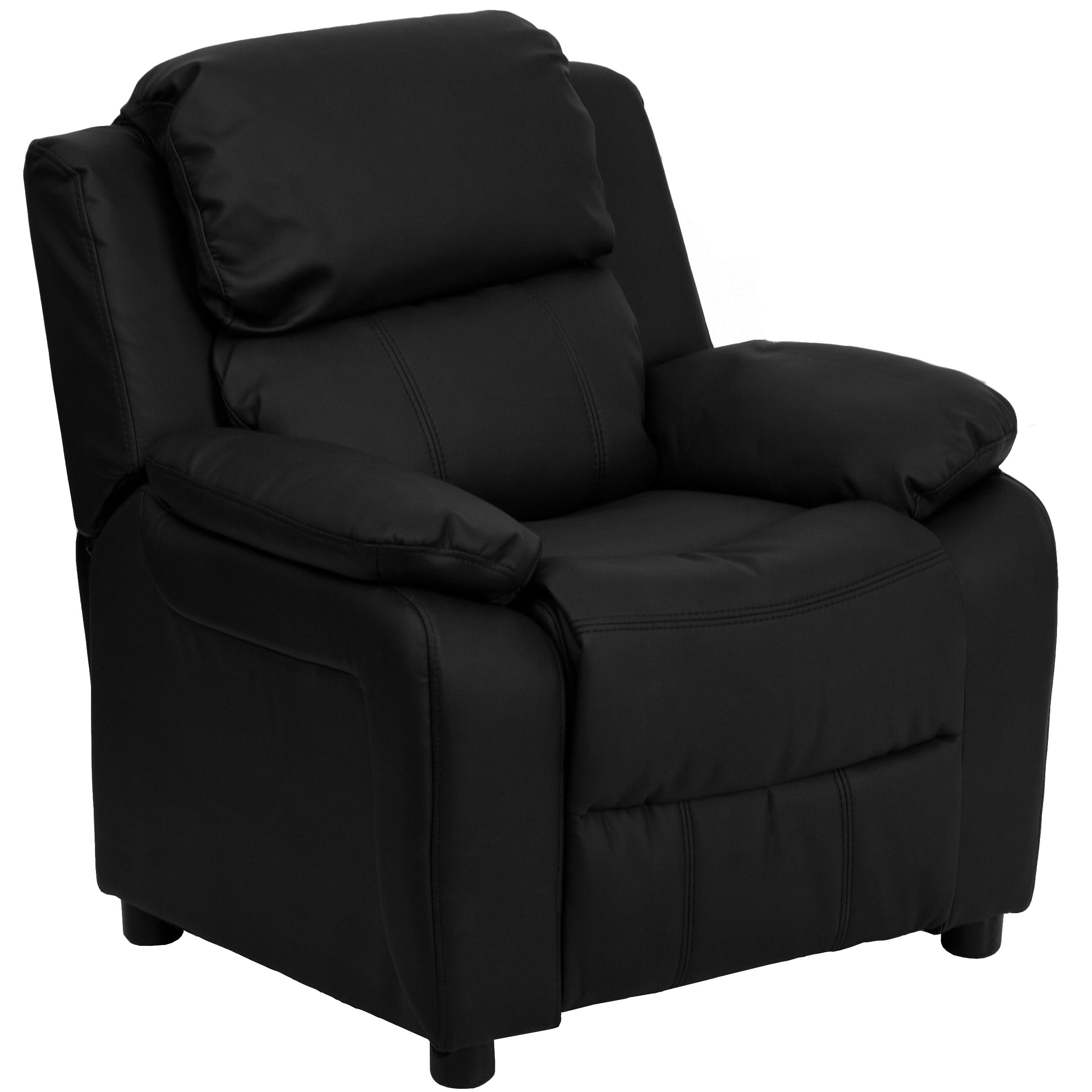 Shop Deluxe Heavily Padded Contemporary Leather Kidu0027s Recliner With Storage  Arms   Free Shipping Today   Overstock.com   6702518