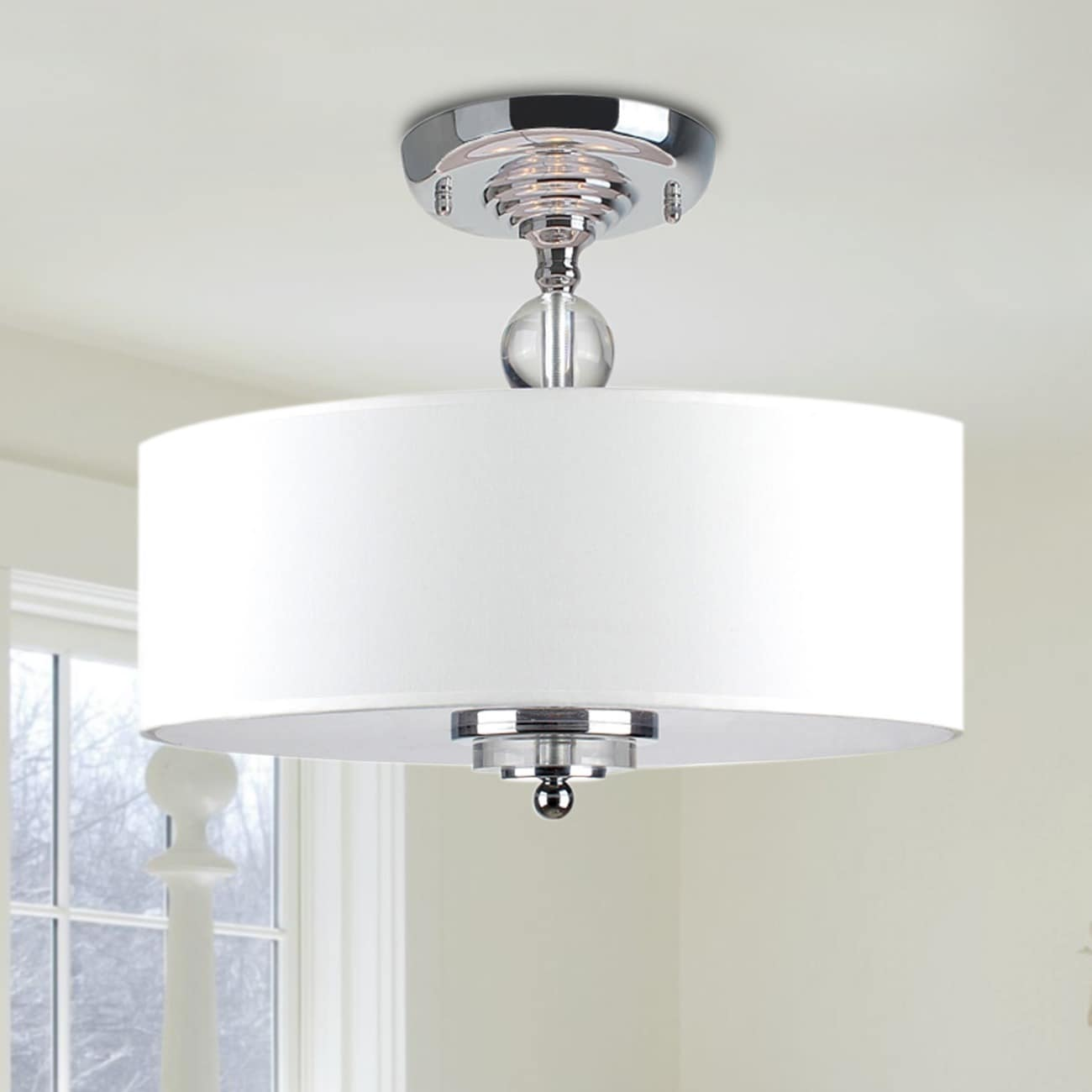 Clay alder home legore crystal decorated off white shade clay alder home legore crystal decorated off white shade flushmount ceiling chandelier free shipping today overstock 14259798 arubaitofo Gallery