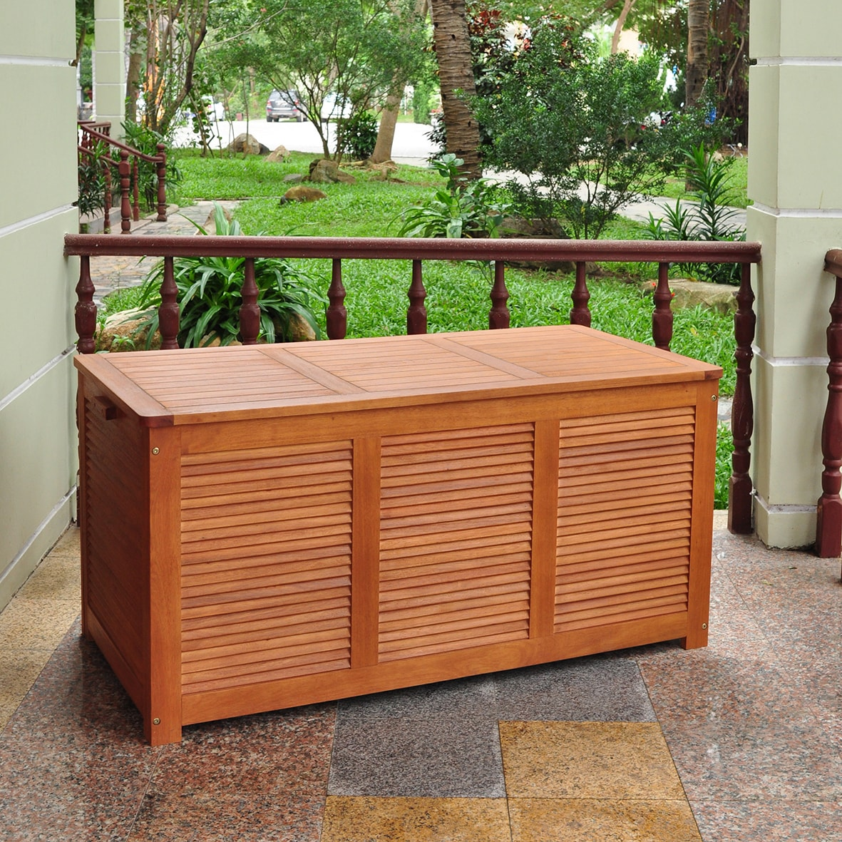 Delightful Shop Merry Products Outdoor Cushion Storage Box   Free Shipping Today    Overstock.com   6708995