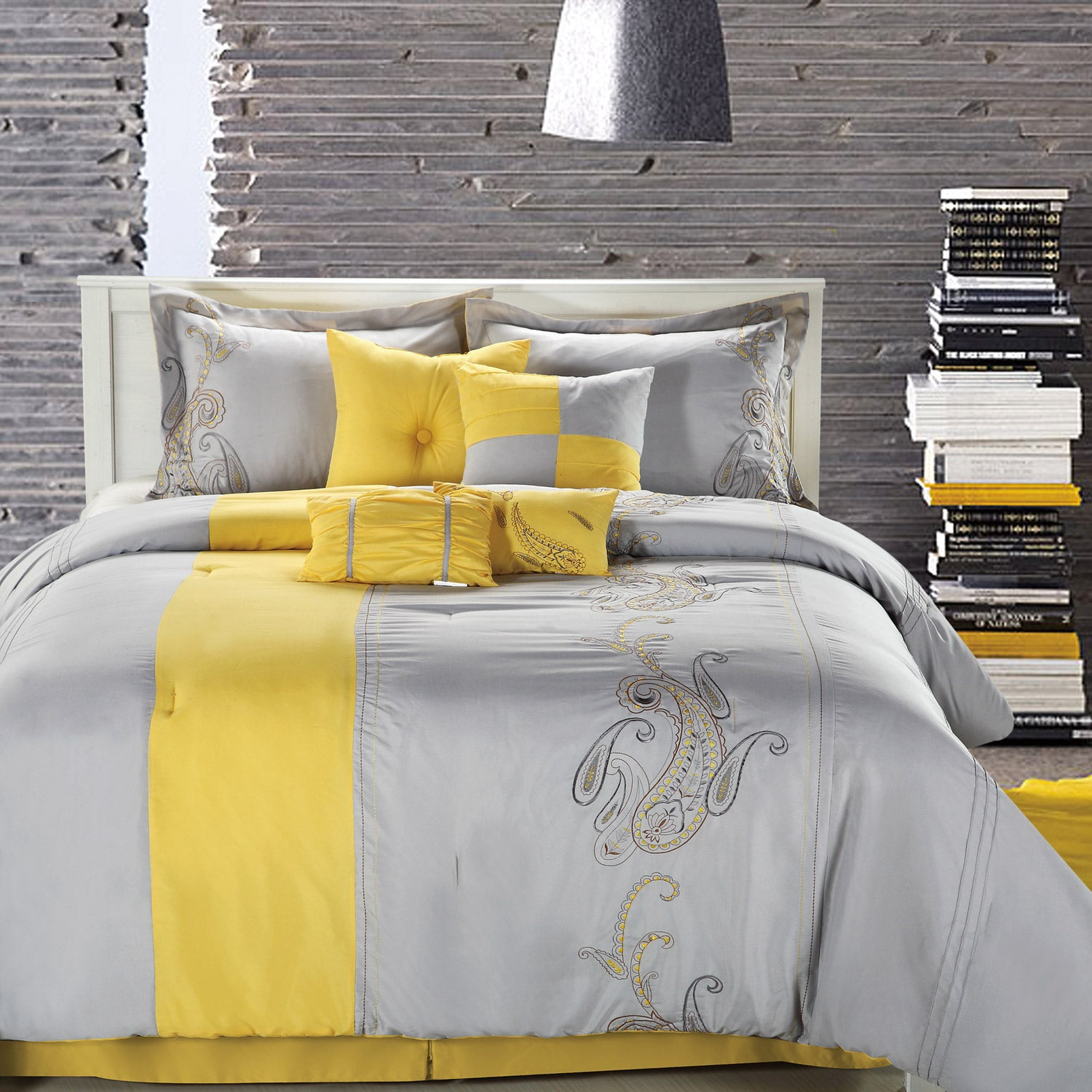 Ann Harbor 8 piece Yellow grey forter Set Free Shipping Today