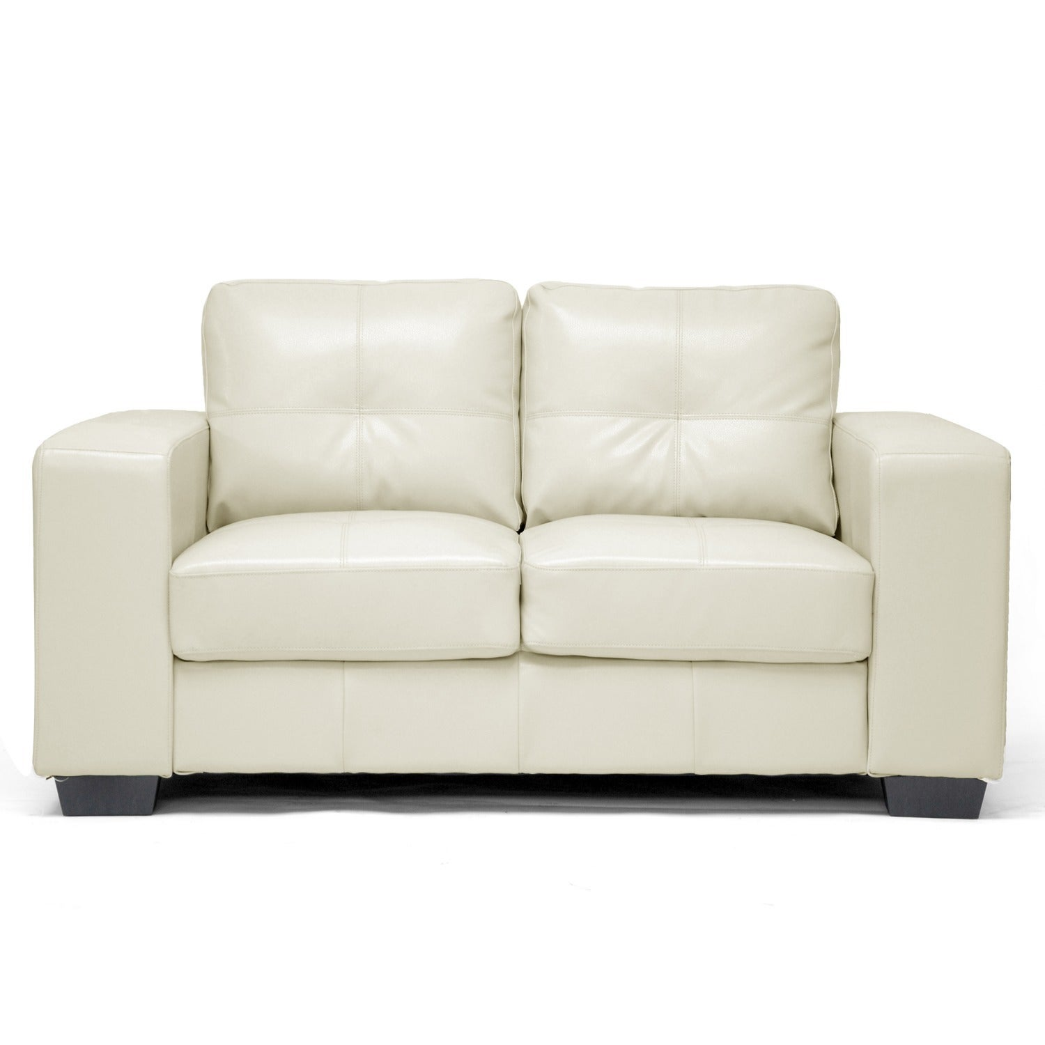 Whitney Modern Ivory Faux Leather Sofa And Loveseat Set Free