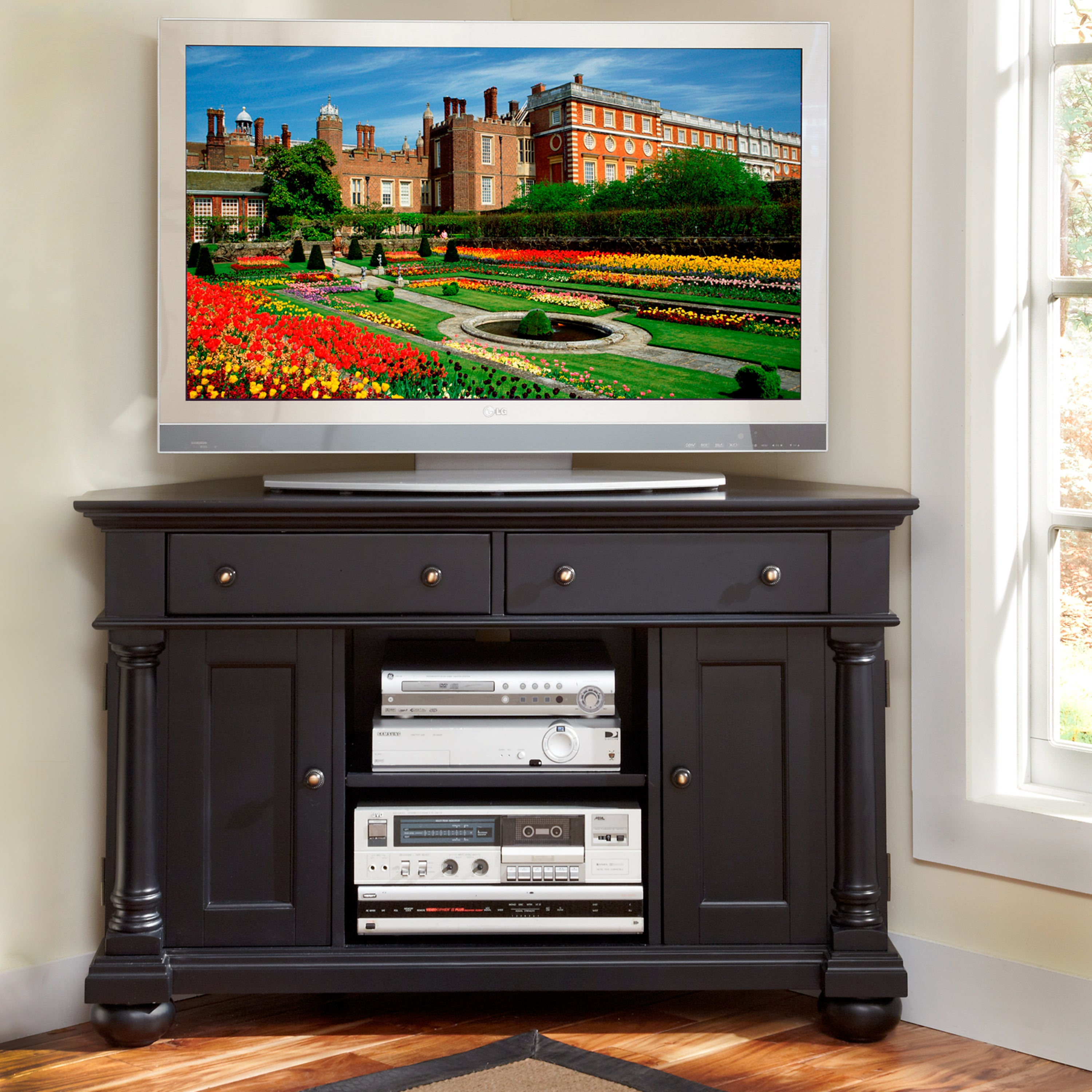 Shop St Croix Black Corner Tv Stand Free Shipping Today