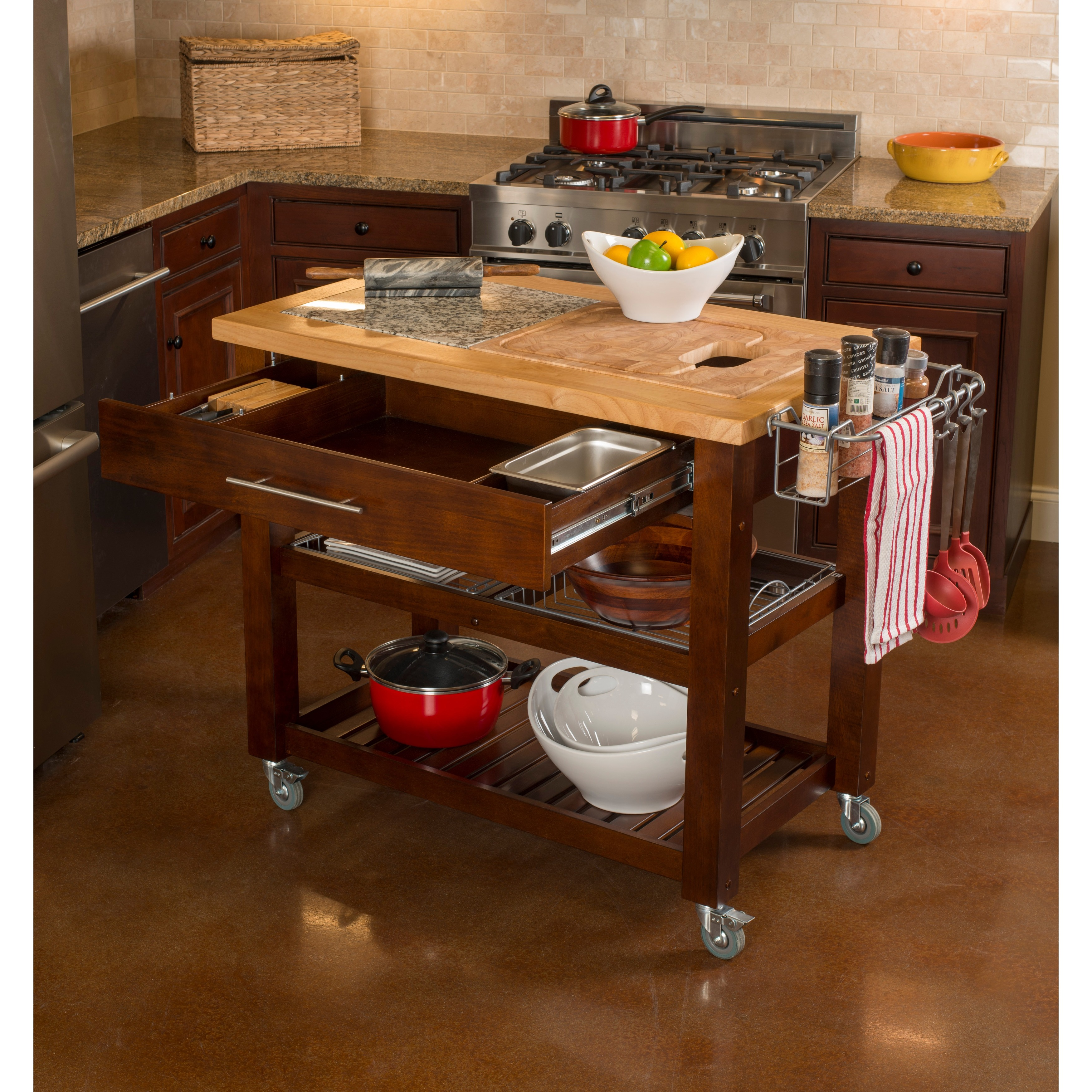 Shop Chris U0026 Chris 24 X 40 Pro Chef Espresso Kitchen Work Station   On Sale    Free Shipping Today   Overstock.com   6716102