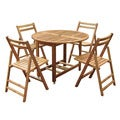 Merry Products Round 5-piece Outdoor Folding Table Set