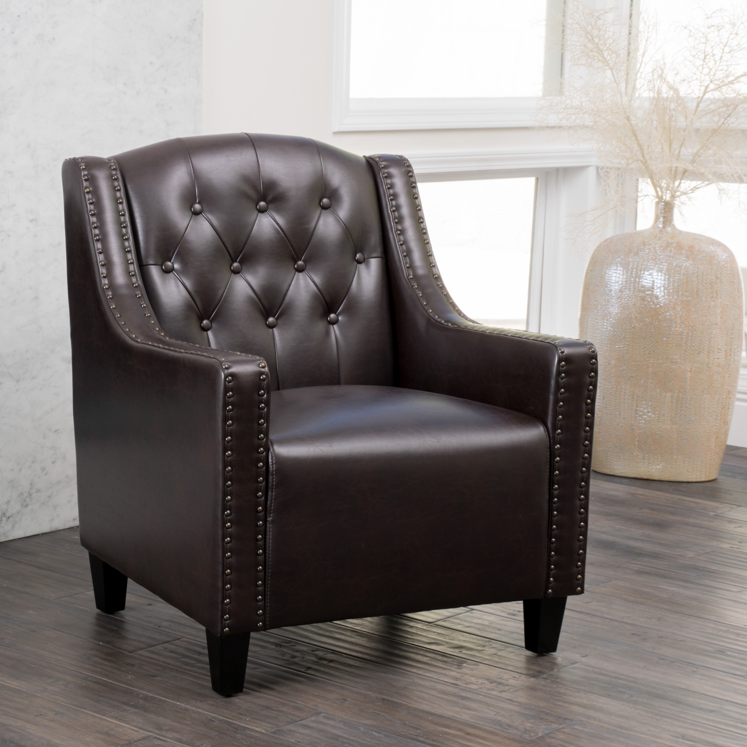 Shop Gabriel Tufted Leather Club Chair By Christopher Knight Home   On Sale    Free Shipping Today   Overstock.com   6722559