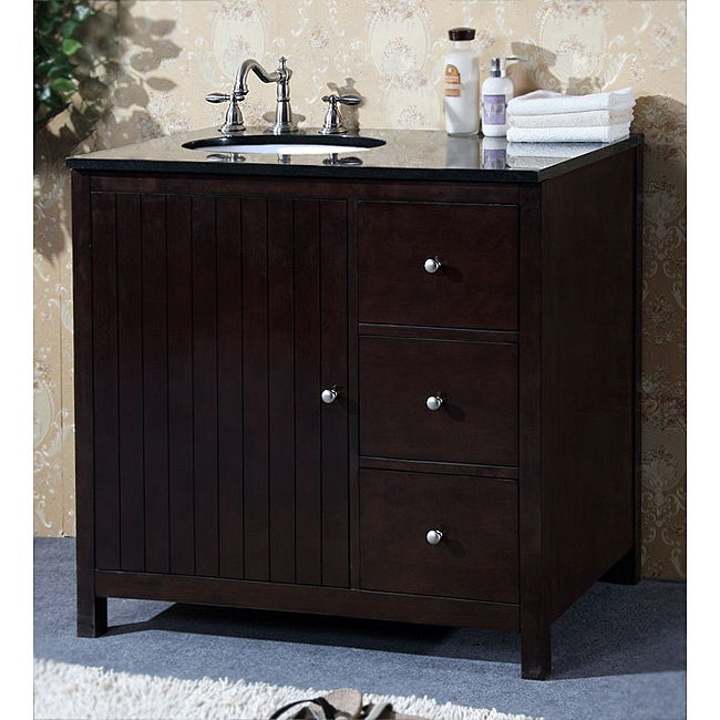Superbe Granite Top 36 Inch Single Sink Bathroom Vanity