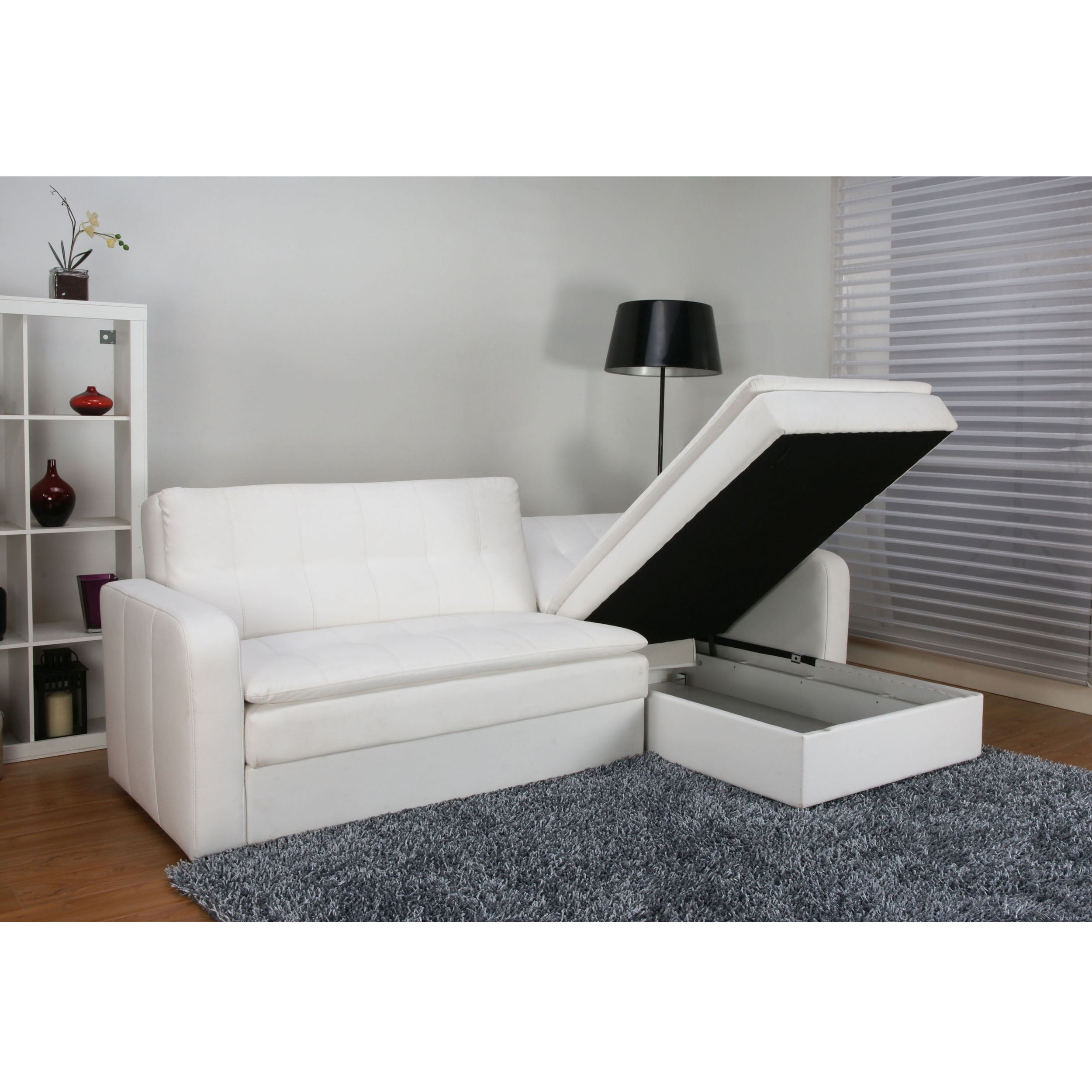 Denver White Double Cushion Storage Sectional Sofa Bed