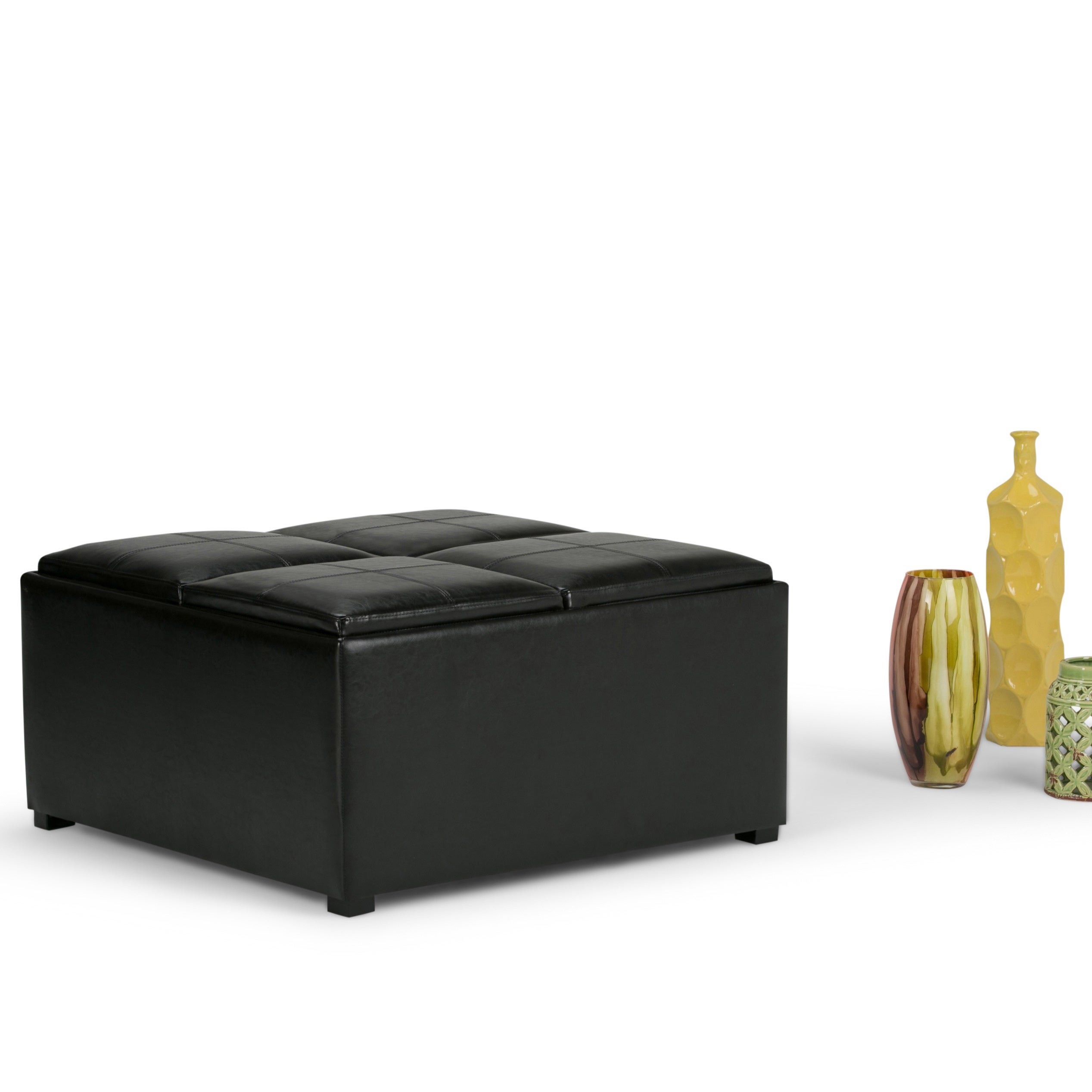 WYNDENHALL Franklin Square Storage Ottoman with 4 Serving Trays - Free  Shipping Today - Overstock.com - 14275122