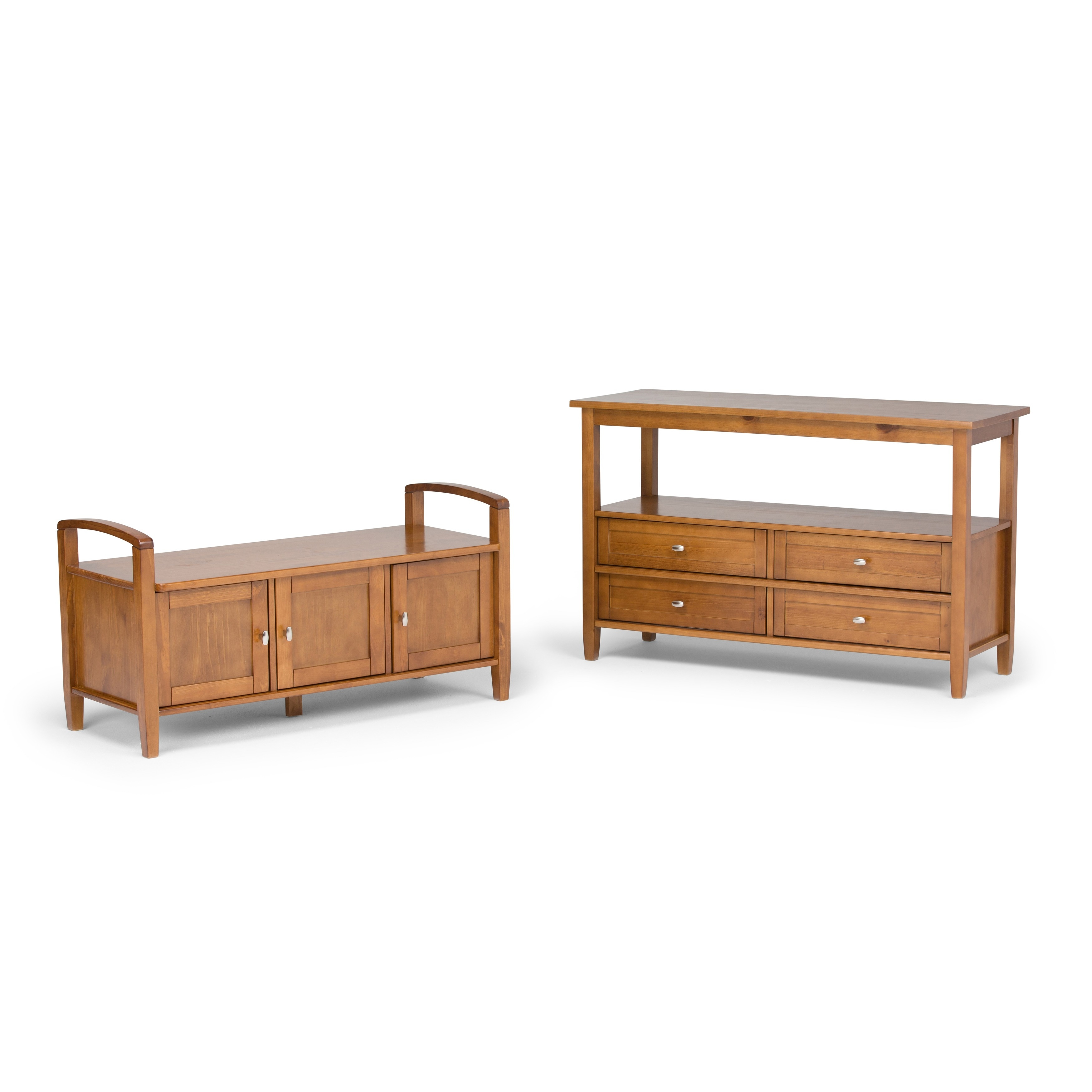 WYNDENHALL Norfolk Honey Brown Entryway Storage Bench - Free Shipping Today  - Overstock.com - 14275126