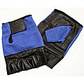 Defender Blue Large Leather Fingerless Gloves
