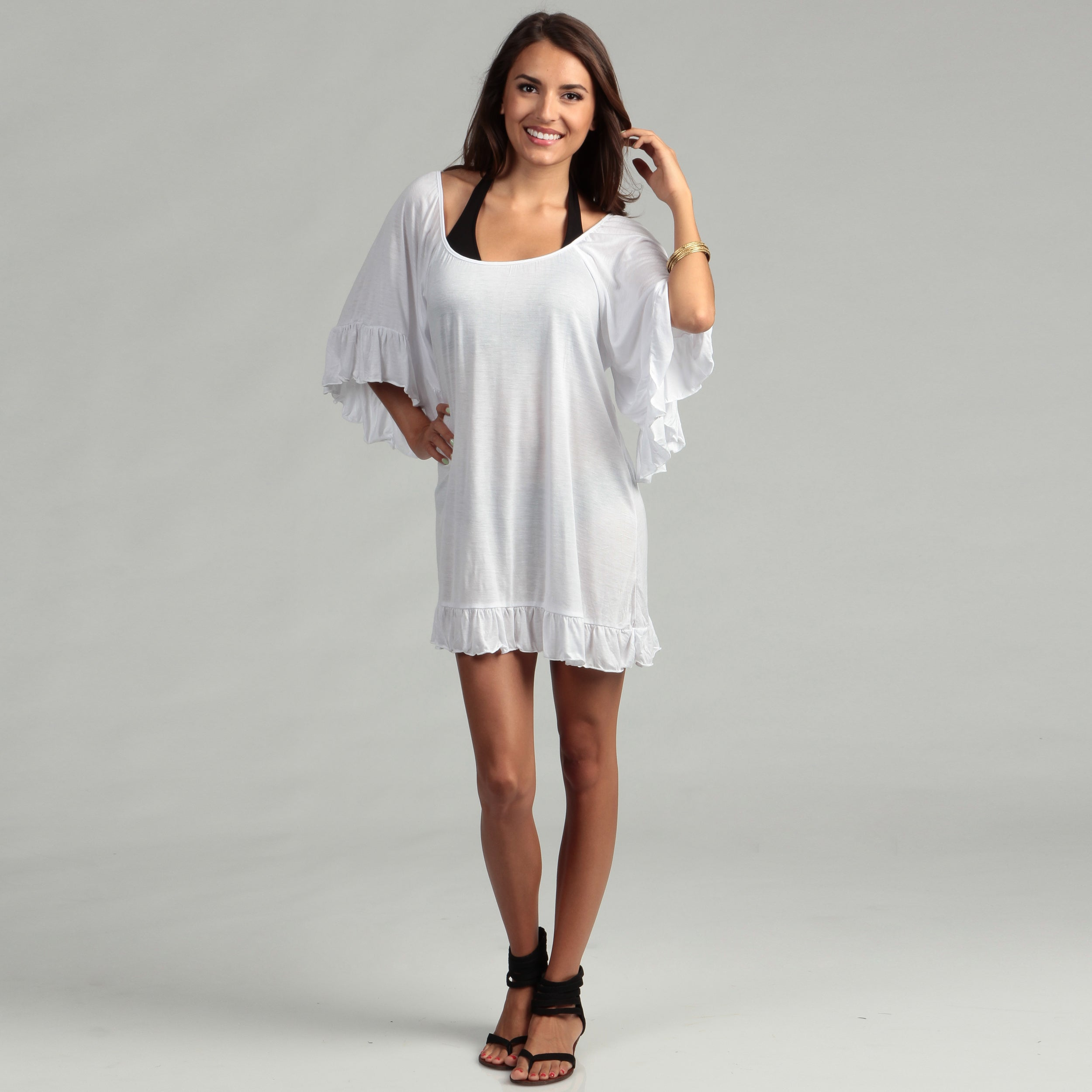 401fec9fab Shop Water Water by Elan Angel Sleeve Short Ruffle Swim Cover-Up - Free  Shipping On Orders Over $45 - Overstock - 6728559