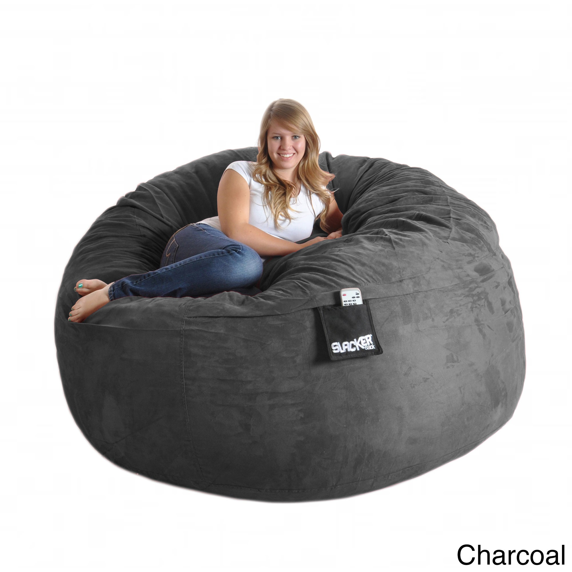 Shop Slacker Sack Round 6 Foot Microsuede And Foam Bean Bag   Free Shipping  Today   Overstock.com   6735452