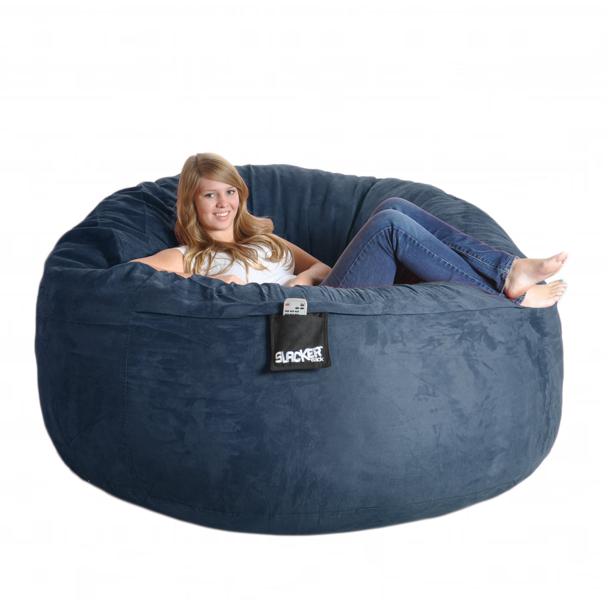 Shop Navy Blue 6-foot Microfiber and Memory Foam Bean Bag - Free Shipping  Today - Overstock - 6735475 d87676118ecf2