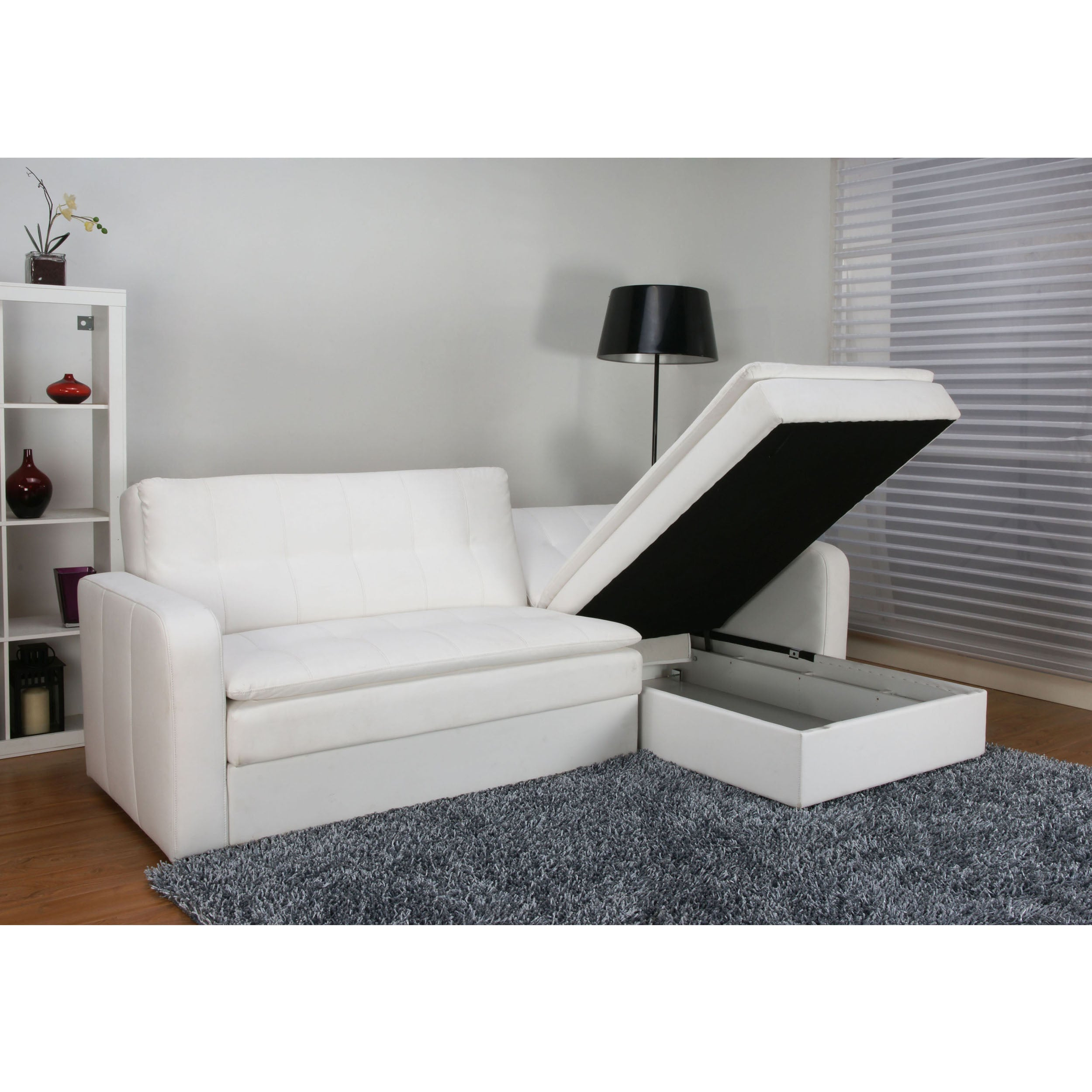 Shop Denver White Double Cushion Storage Sectional Sofa Bed And Ottoman Set    Free Shipping Today   Overstock.com   6739414