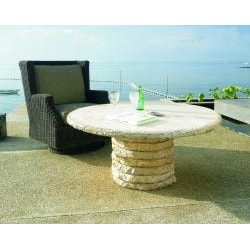Shop Outdoor 48 Inch Round Stone Stack Table Top   Free Shipping Today    Overstock.com   6743195