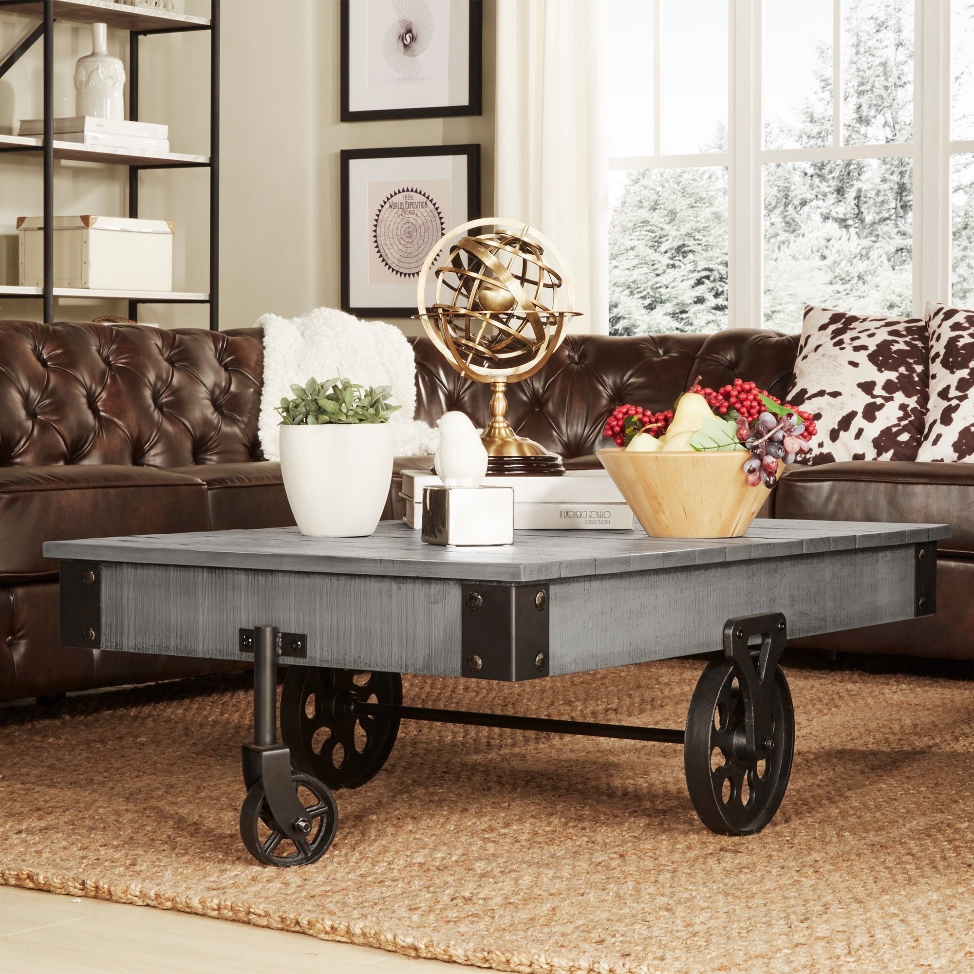 Myra Vintage Industrial Modern Rustic 47 inch Coffee Table by