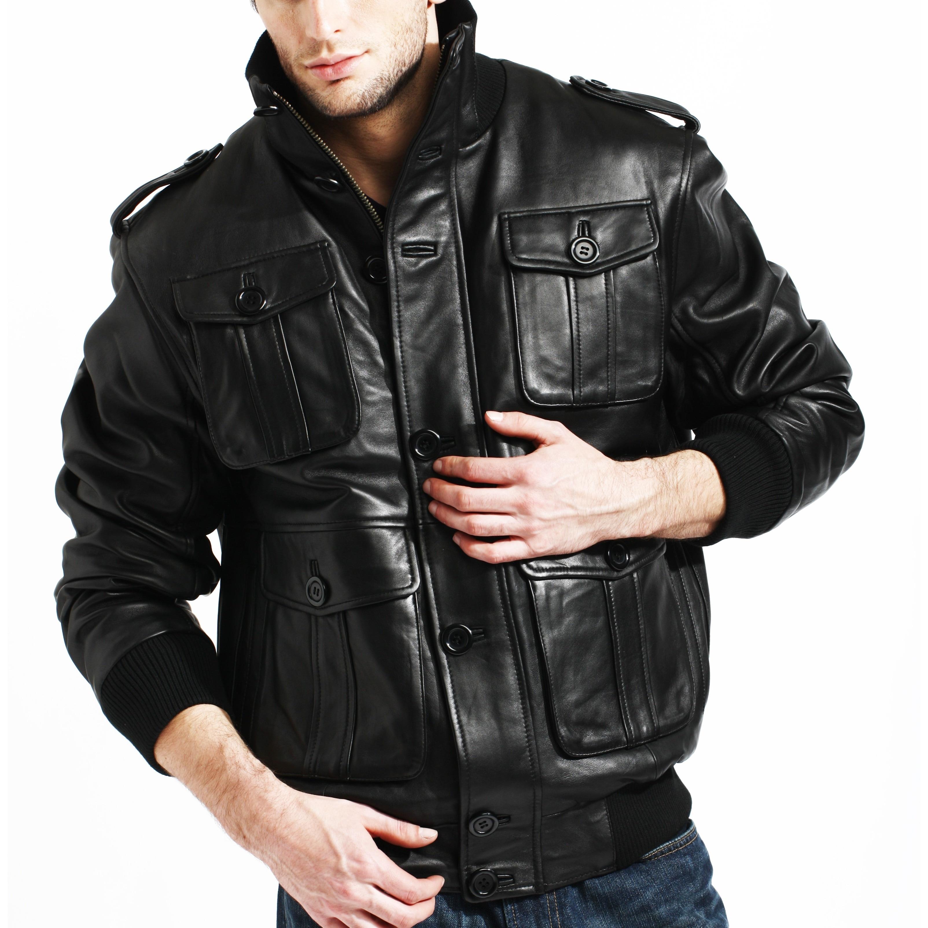 86b9a4599 Men's Black Lambskin Leather Bomber Jacket