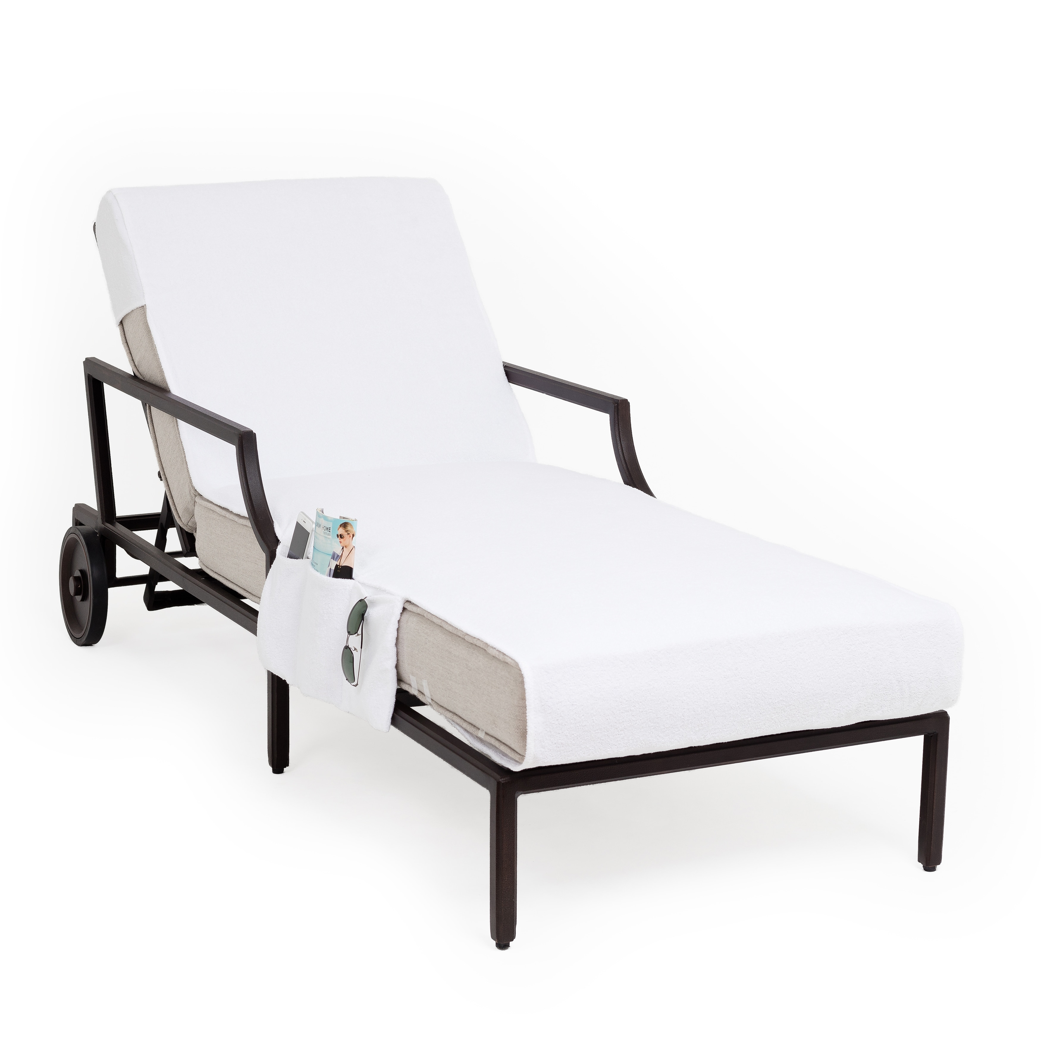 Shop Turkish Cotton Standard Chaise Lounge Chair Towel Cover With Pockets    Free Shipping On Orders Over $45   Overstock.com   6751405