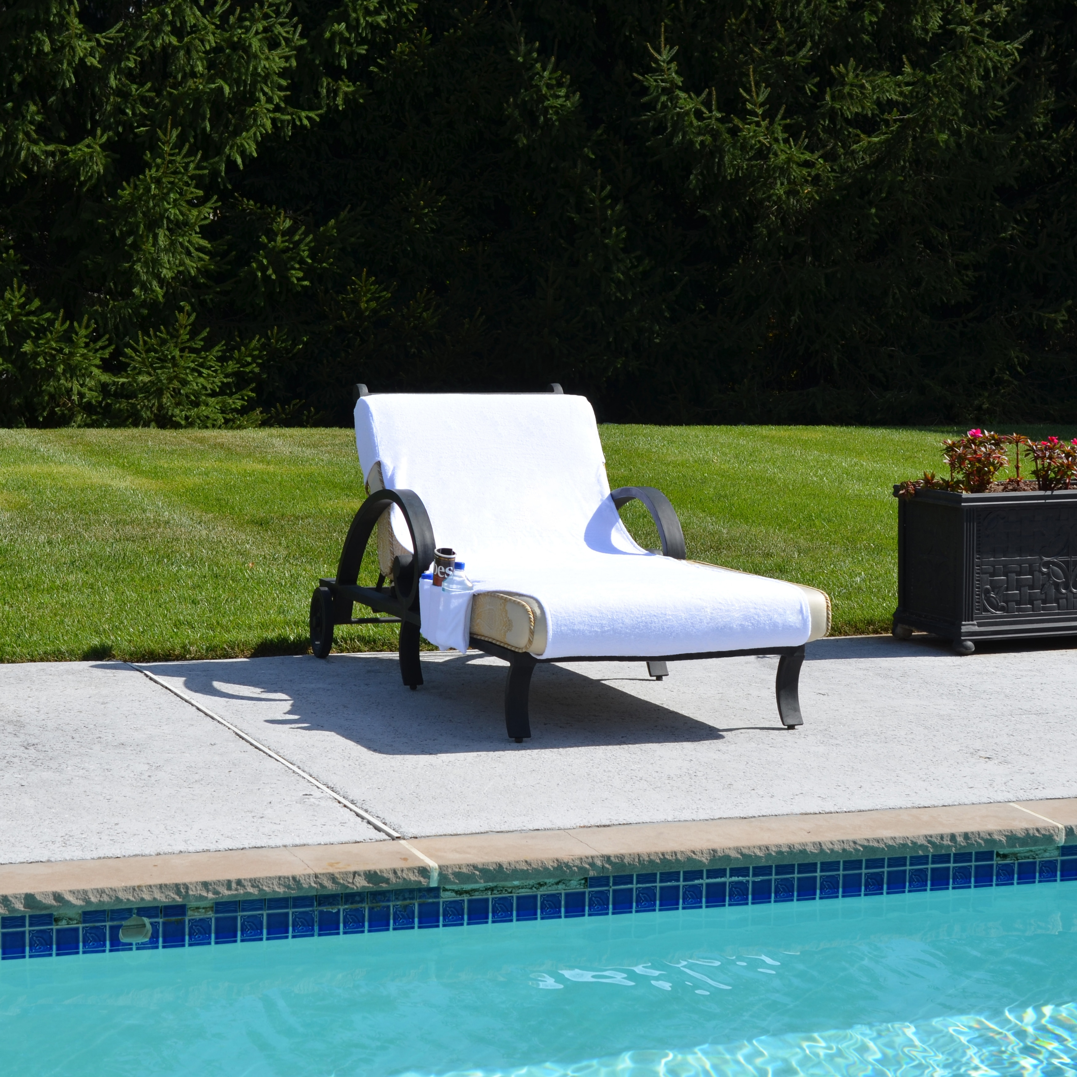 Turkish Cotton Standard Chaise Lounge Chair Towel Cover With Pockets   Free  Shipping On Orders Over $45   Overstock   14294640