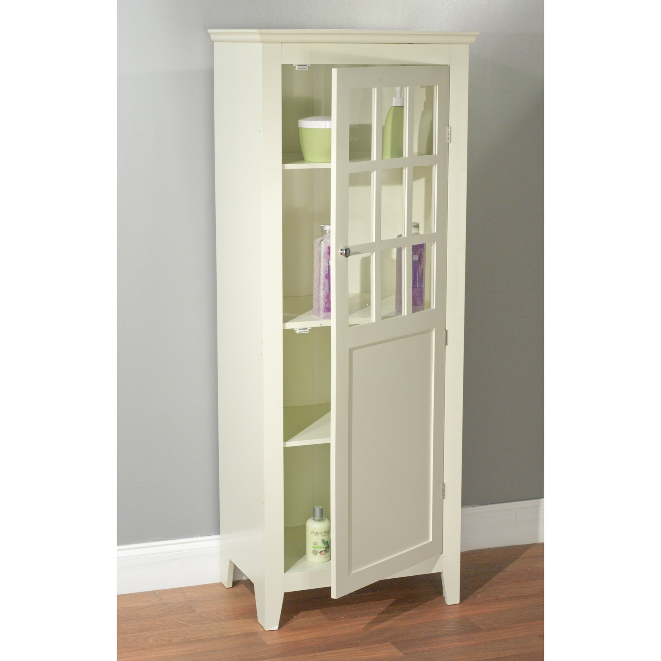 Shop Simple Living Antique White Tall Bathroom Linen Cabinet - Free ...