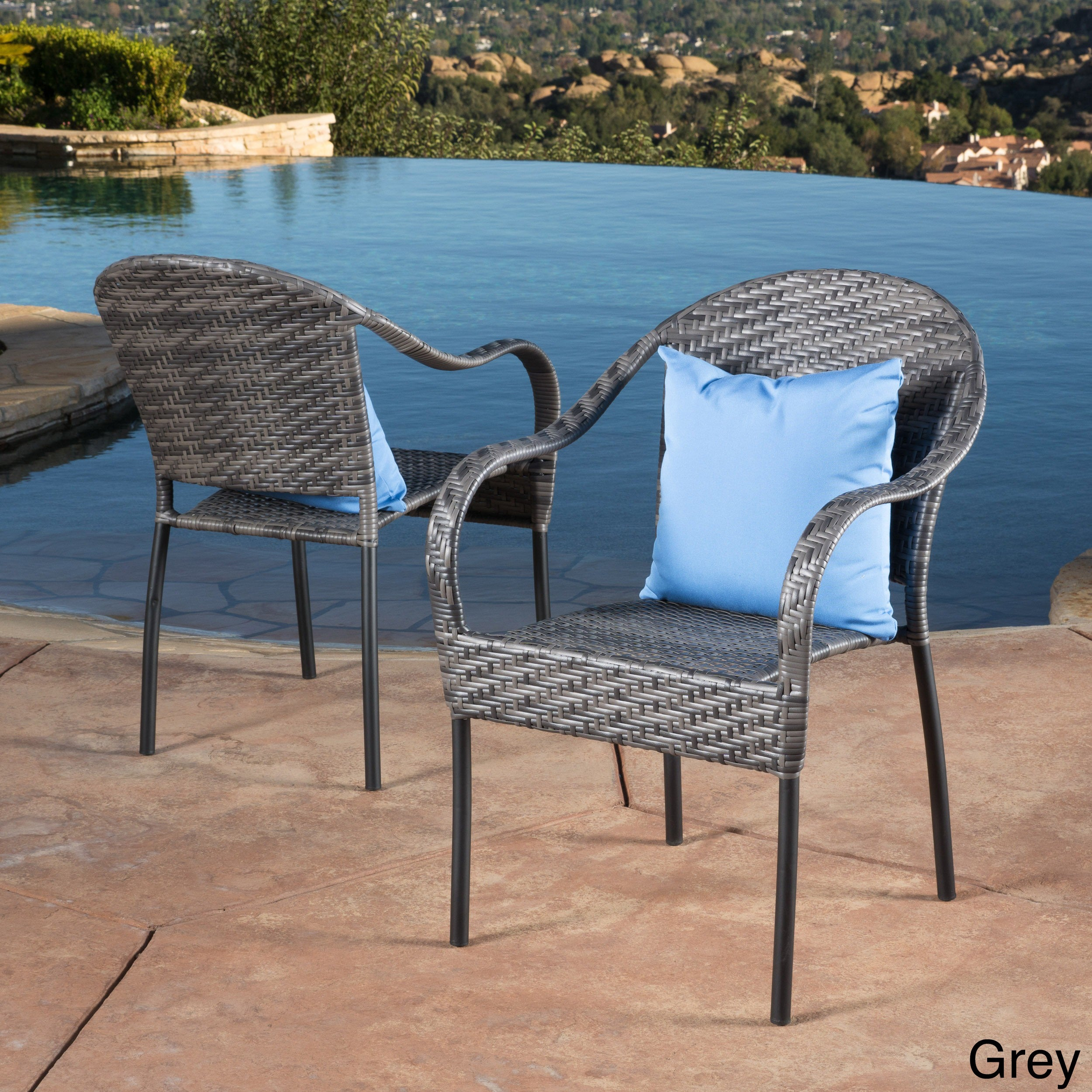 Sunset Outdoor Tight Weave Wicker Chair Set Of 2 By Christopher Knight Home Overstock 6753529