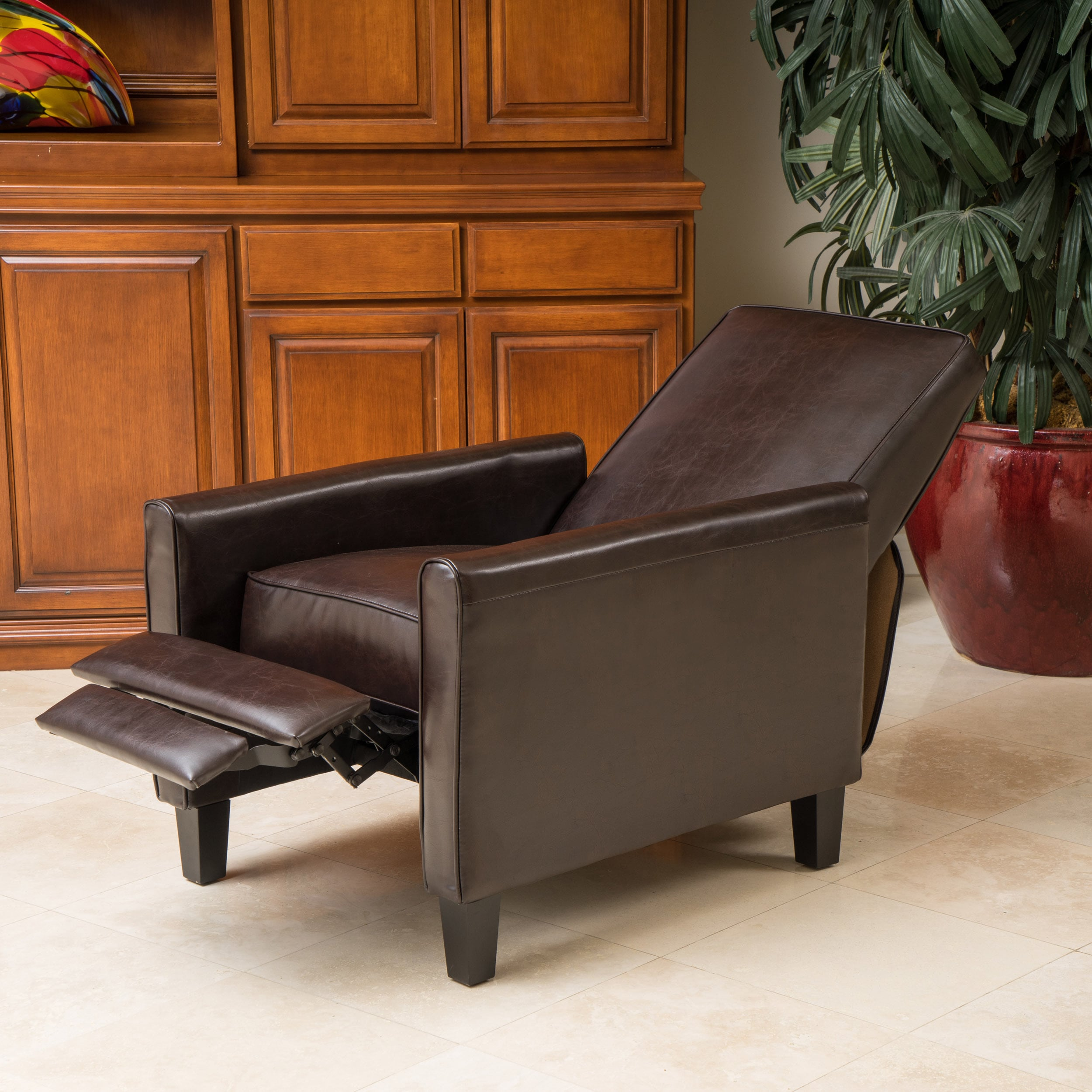Darvis Brown Bonded Leather Recliner Club Chair By Christopher Knight Home