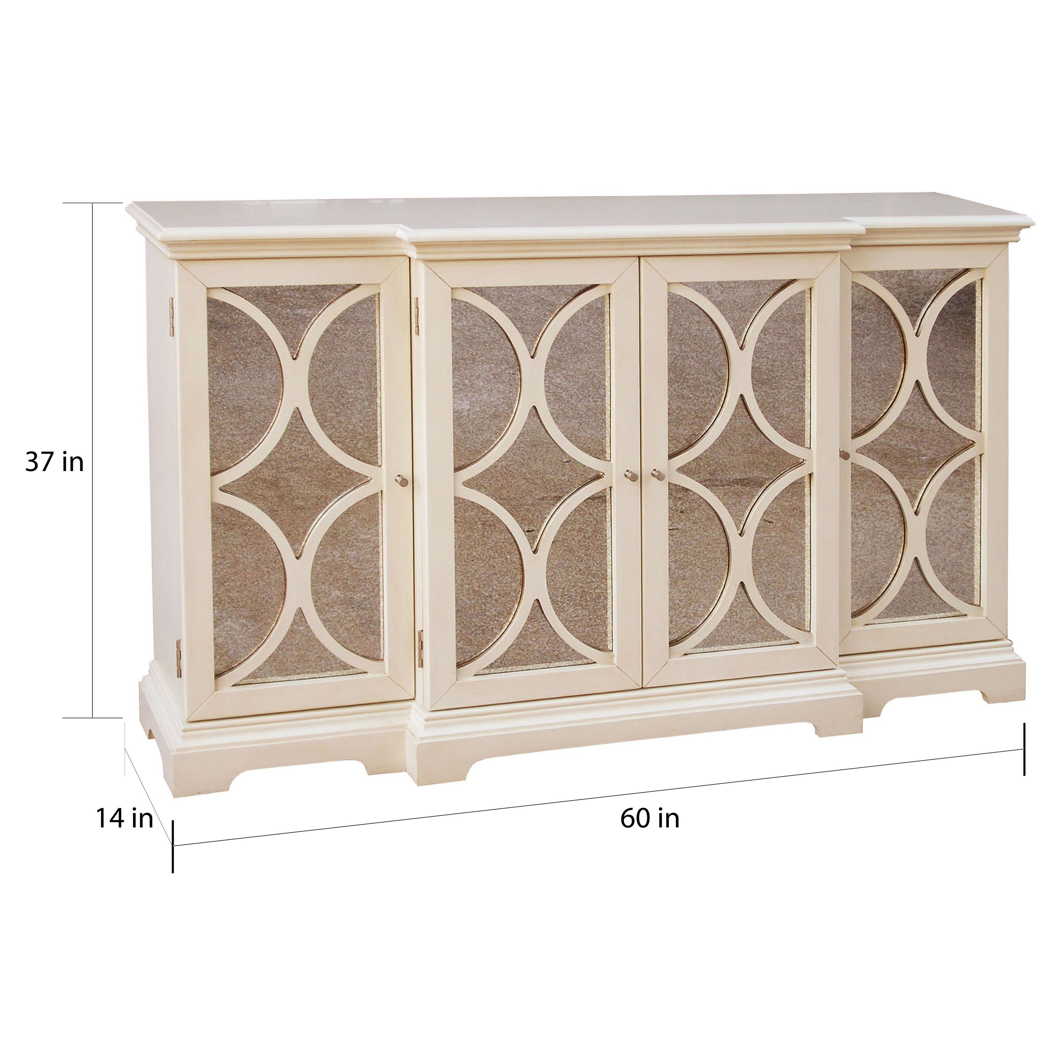 Cream Finish Antiqued Mirror Accent Chest Credenza Multi Free Shipping Today 6761811