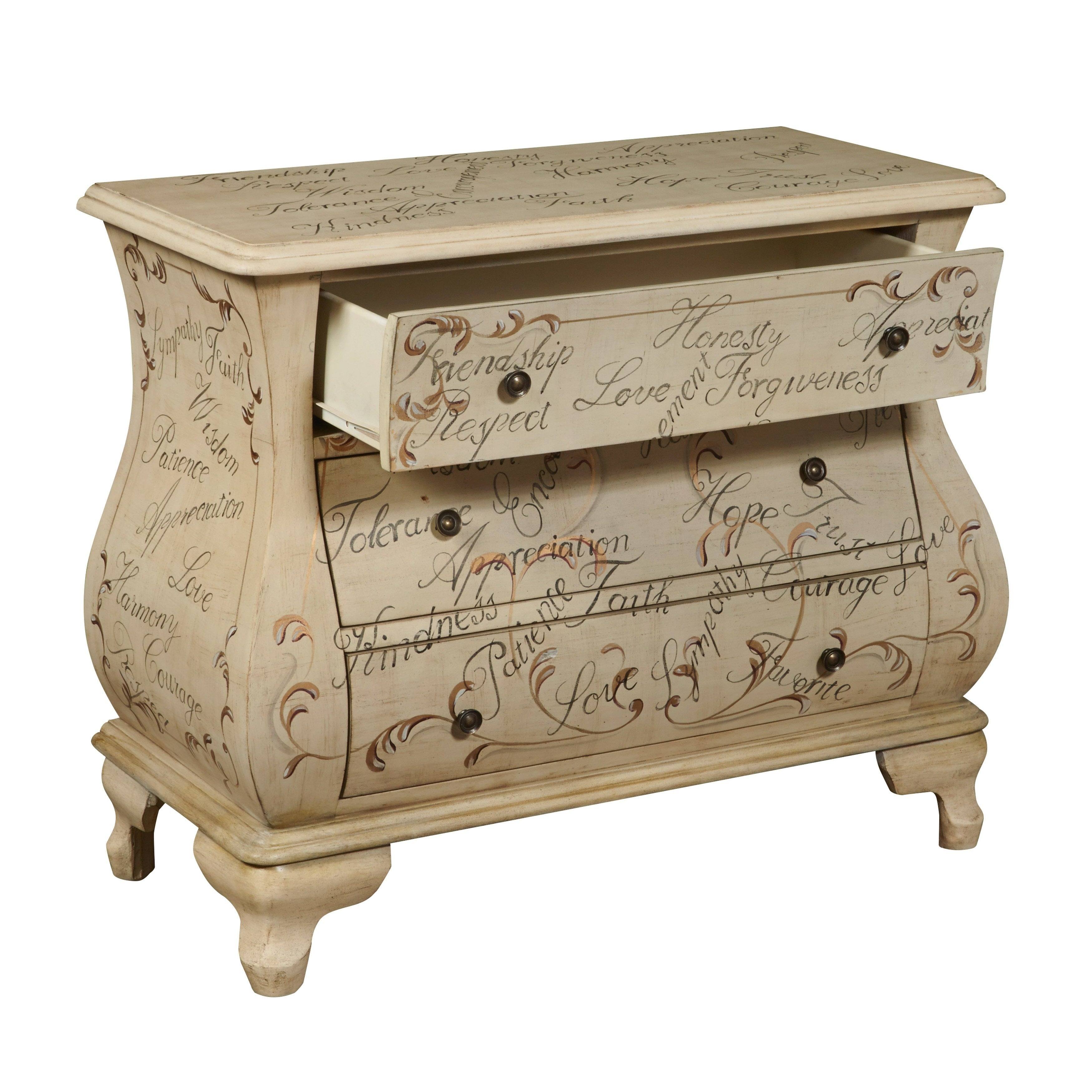 Hand Painted Distressed Antique Ivory Ay Chest On Free Shipping Today 6771481