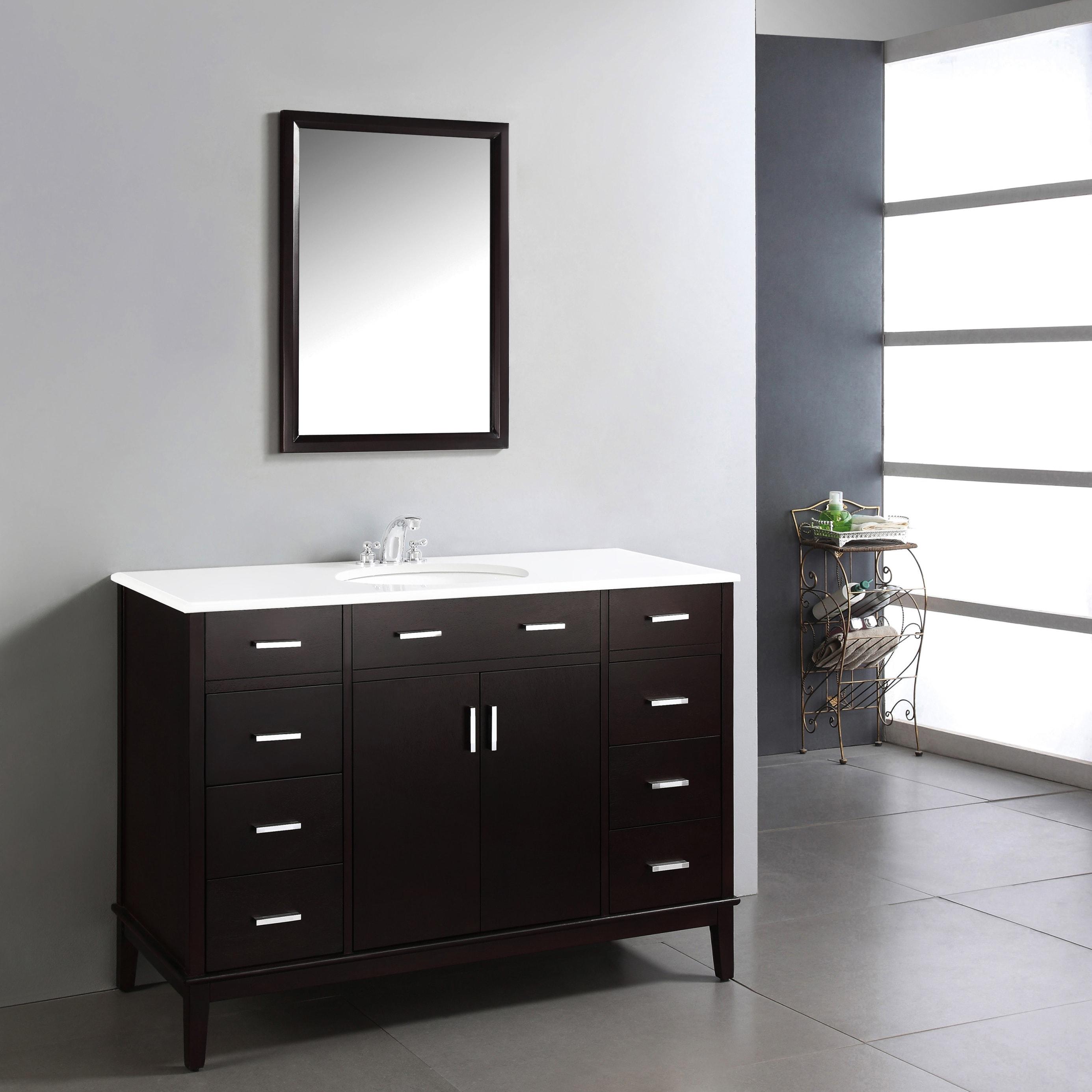 Shop WYNDENHALL Oxford Dark Espresso Brown 48-inch Bathroom Vanity ...