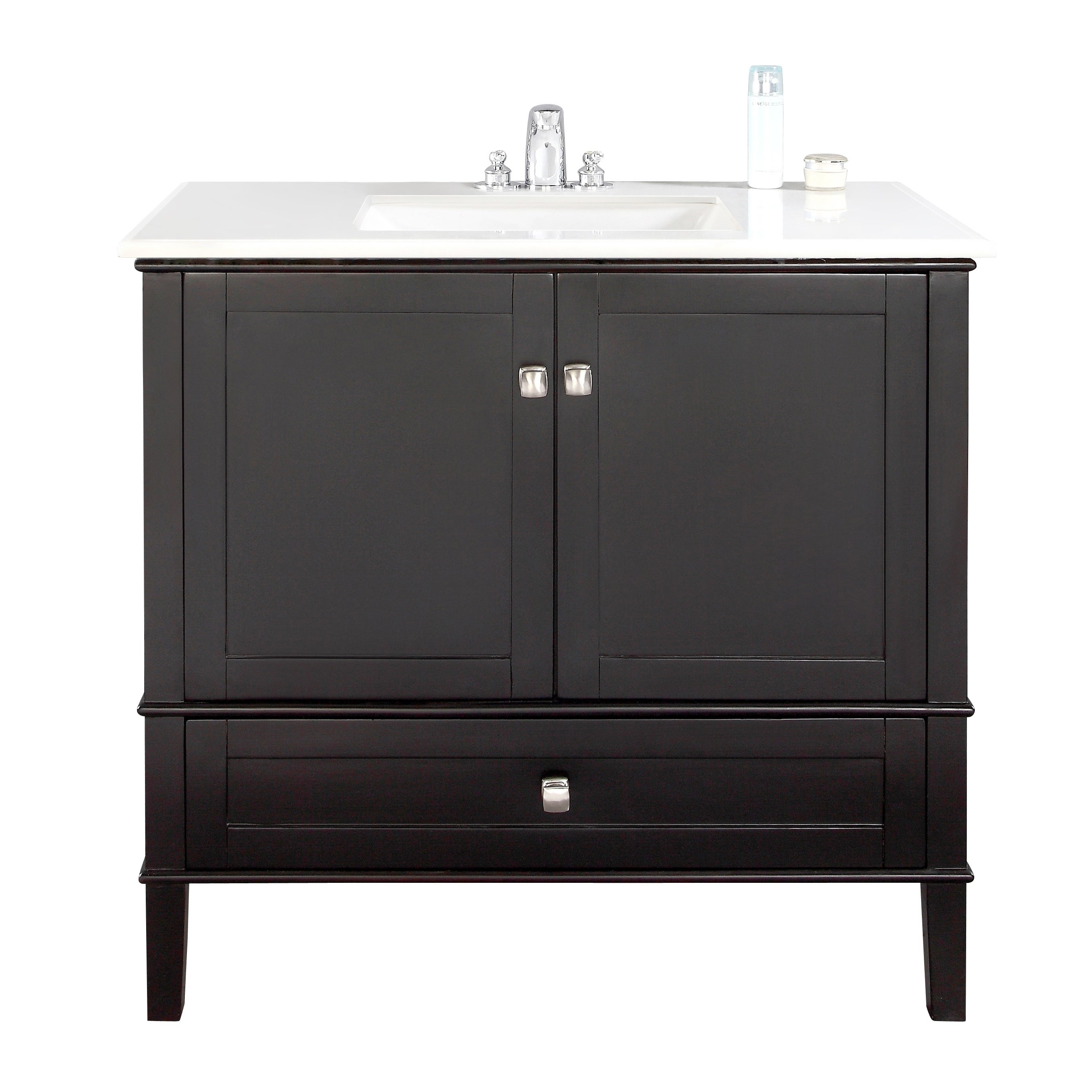 Shop WYNDENHALL Windham Black 36 Inch 2 Door Bath Vanity Set With Bottom  Drawer And White Quartz Marble Top   On Sale   Free Shipping Today    Overstock.com ...