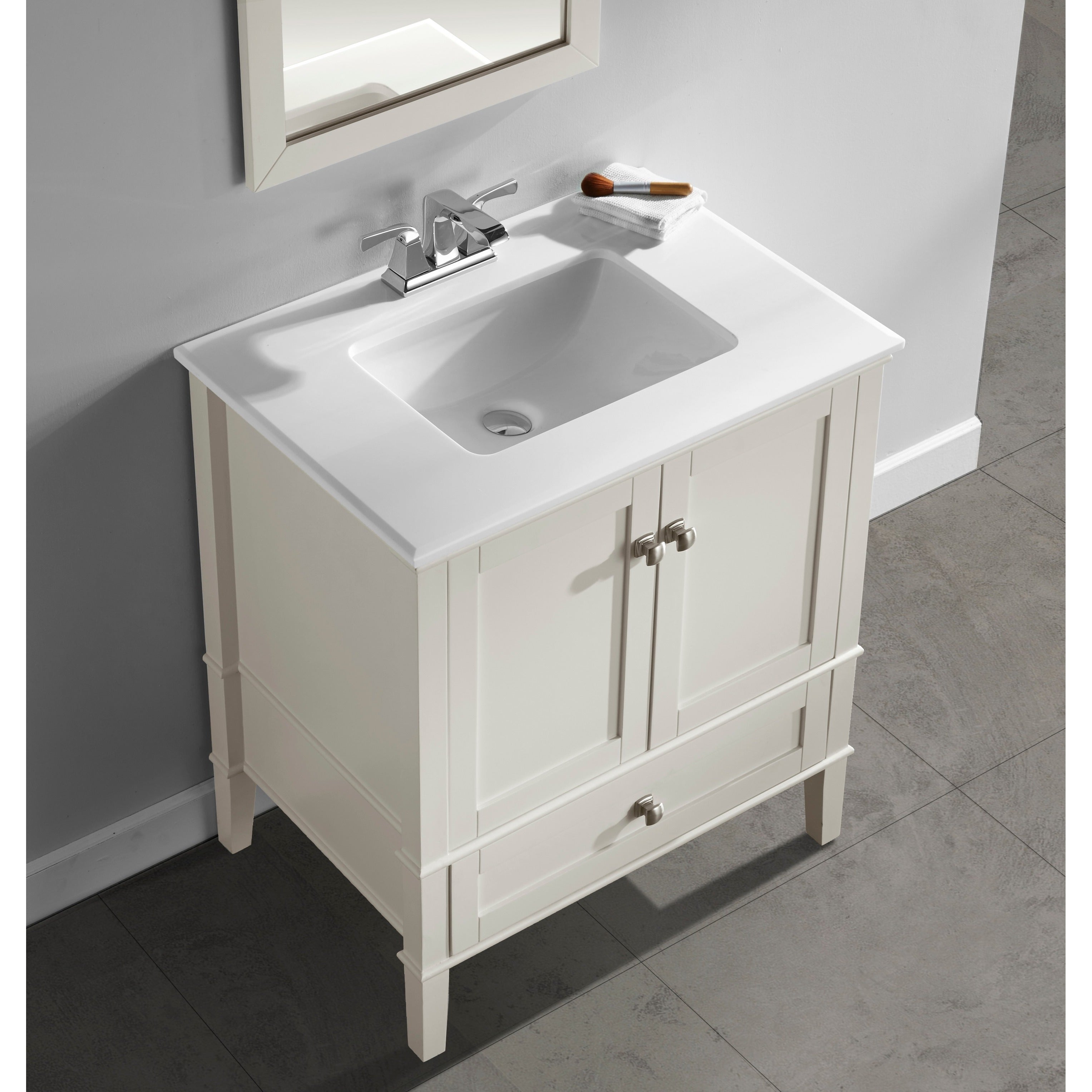 Shop WYNDENHALL Windham Soft White 2 Door 36 Inch Bath Vanity Set With Bottom  Drawer And White Quartz Marble Top   Free Shipping Today   Overstock.com    ...