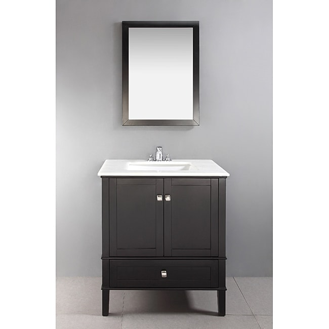 Shop WYNDENHALL Windham Black 30 Inch 2 Door Bath Vanity Set With Bottom  Drawer And White Quartz Marble Top   Free Shipping Today   Overstock.com    6771712