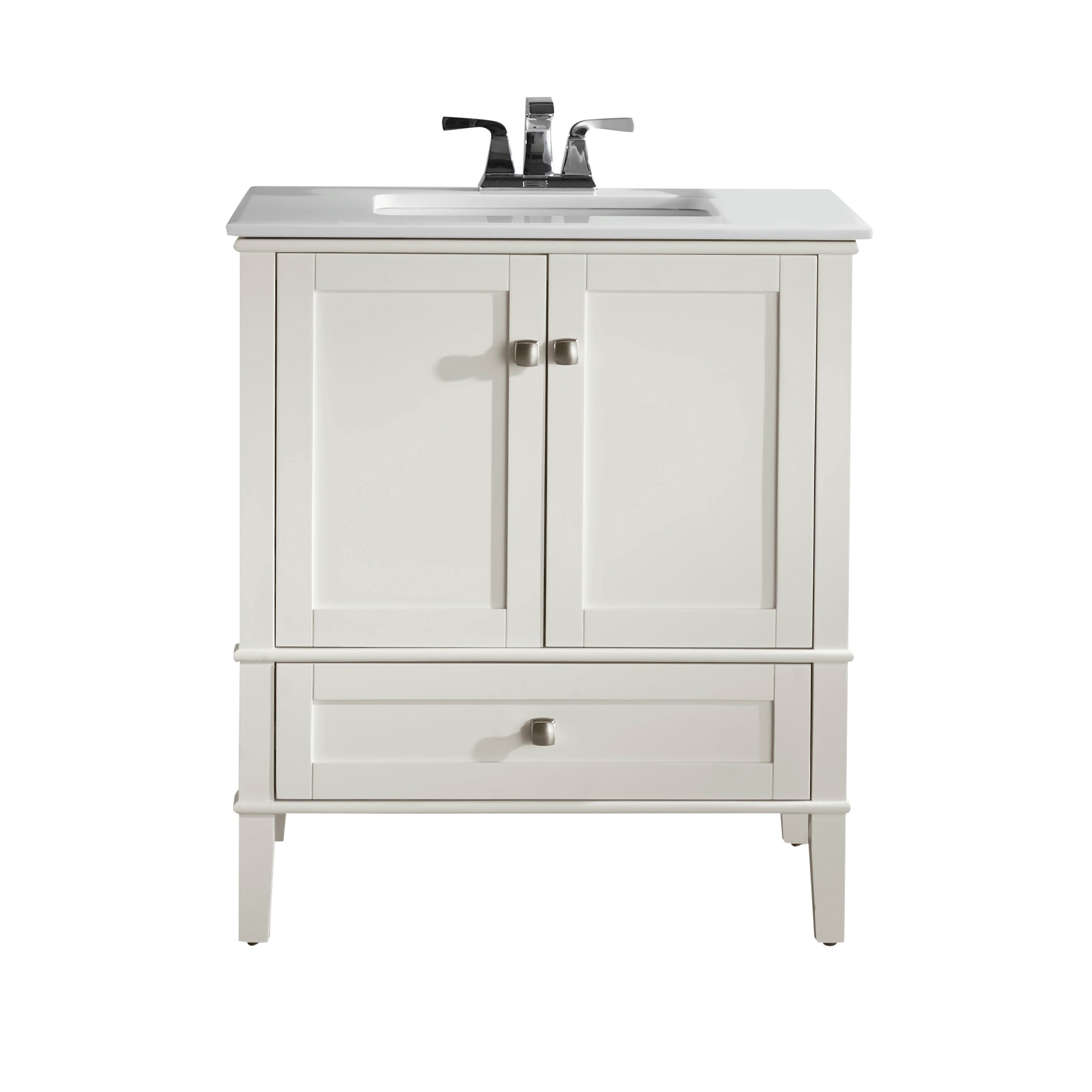 Wyndenhall Windham Soft White 2 Door 30 Inch Bath Vanity Set With Bottom Drawer And Quartz Marble Top On Free Shipping Today