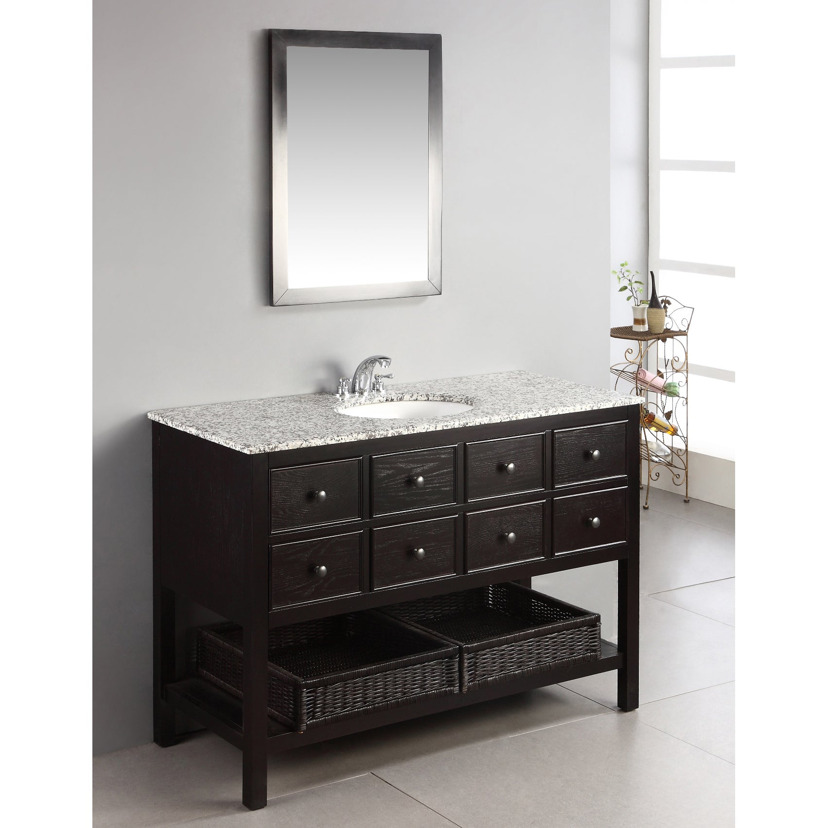 Wyndenhall New Haven Espresso Brown 48 Inch Bath Vanity With 2 Drawers And Dled Grey Granite Top Free Shipping Today 6771714