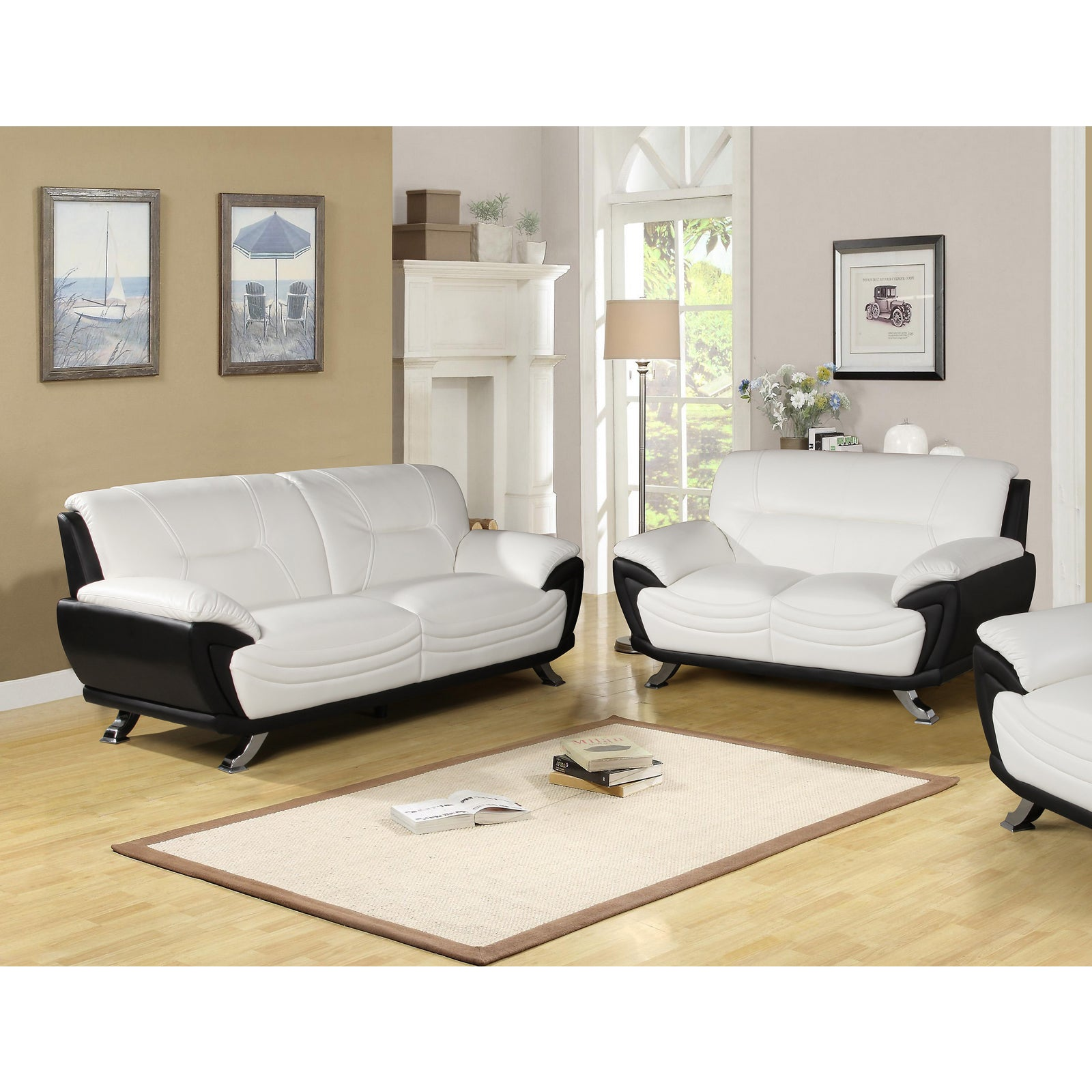 Shop alicia white black two tone modern sofa and loveseat set free shipping today overstock 6775111