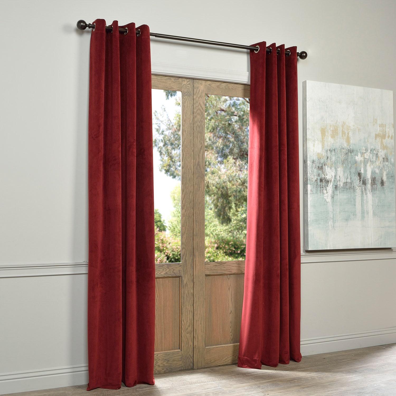Shop Exclusive Fabrics Burgundy Velvet Grommet Blackout Curtain Panel