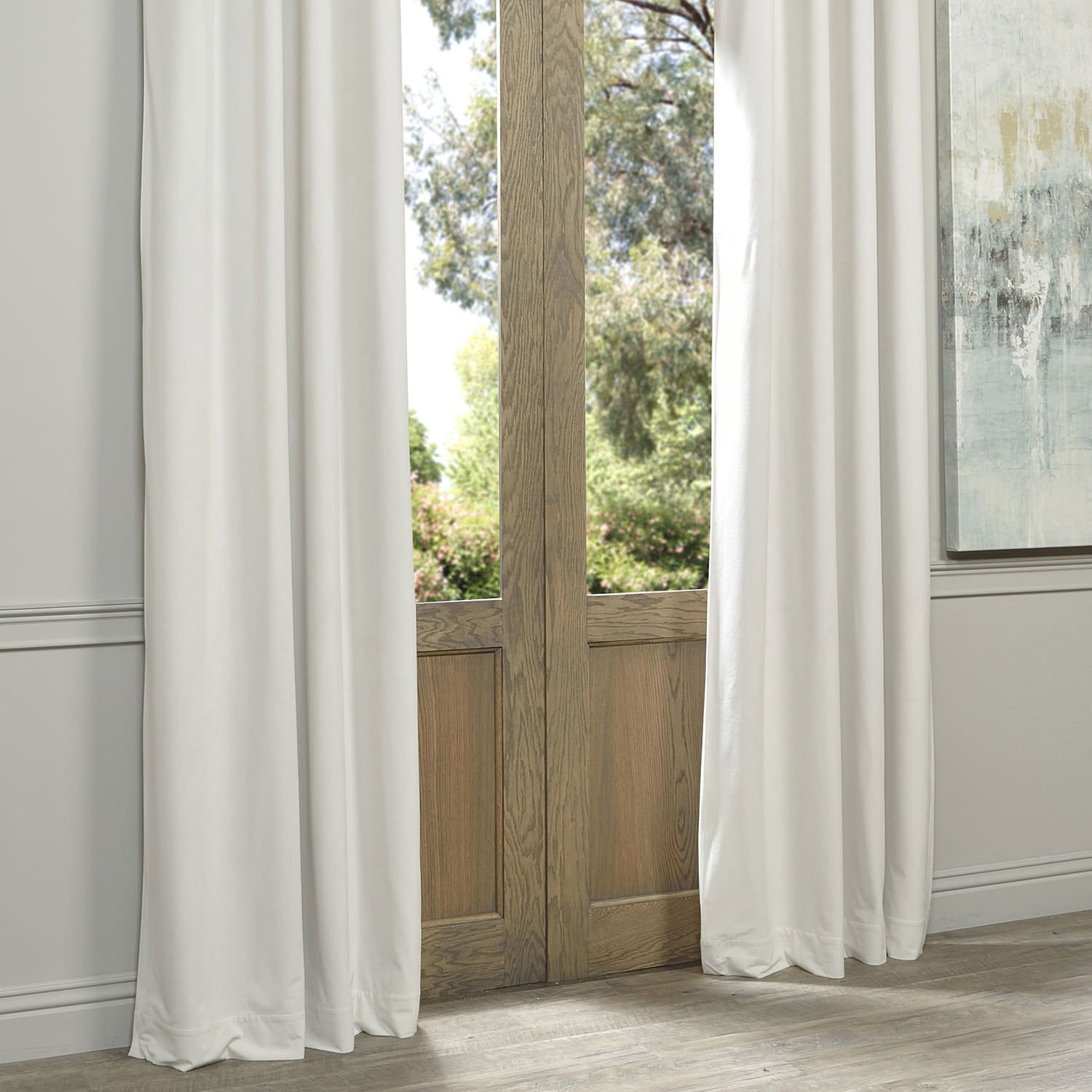 Exclusive Fabrics f White Grommet Velvet Blackout Curtain Panel