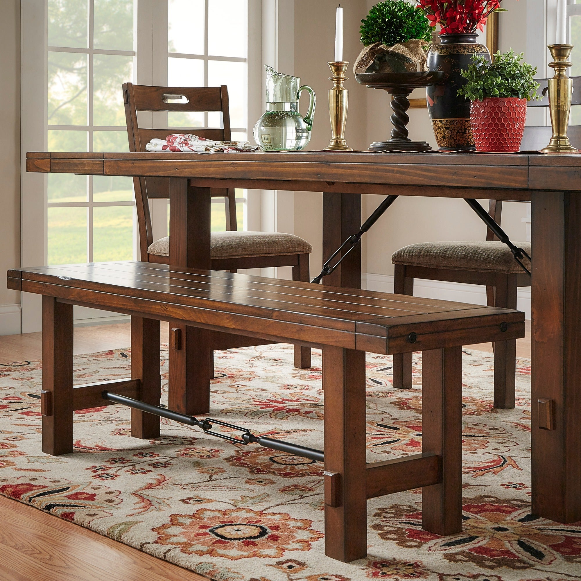 Bon Shop Swindon Rustic Oak Turnbuckle Dining Bench By INSPIRE Q Classic   On  Sale   Free Shipping Today   Overstock.com   6780311
