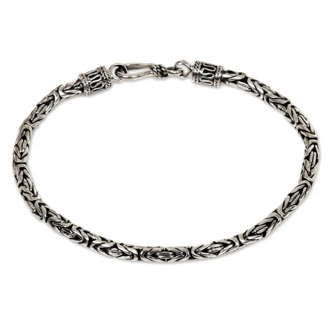 Handmade Borobudur Collection Buddhist Zen Inspired Naga Snake Mens Or Womens Sterling Silver Chain Bracelet Indondesia On Free Shipping