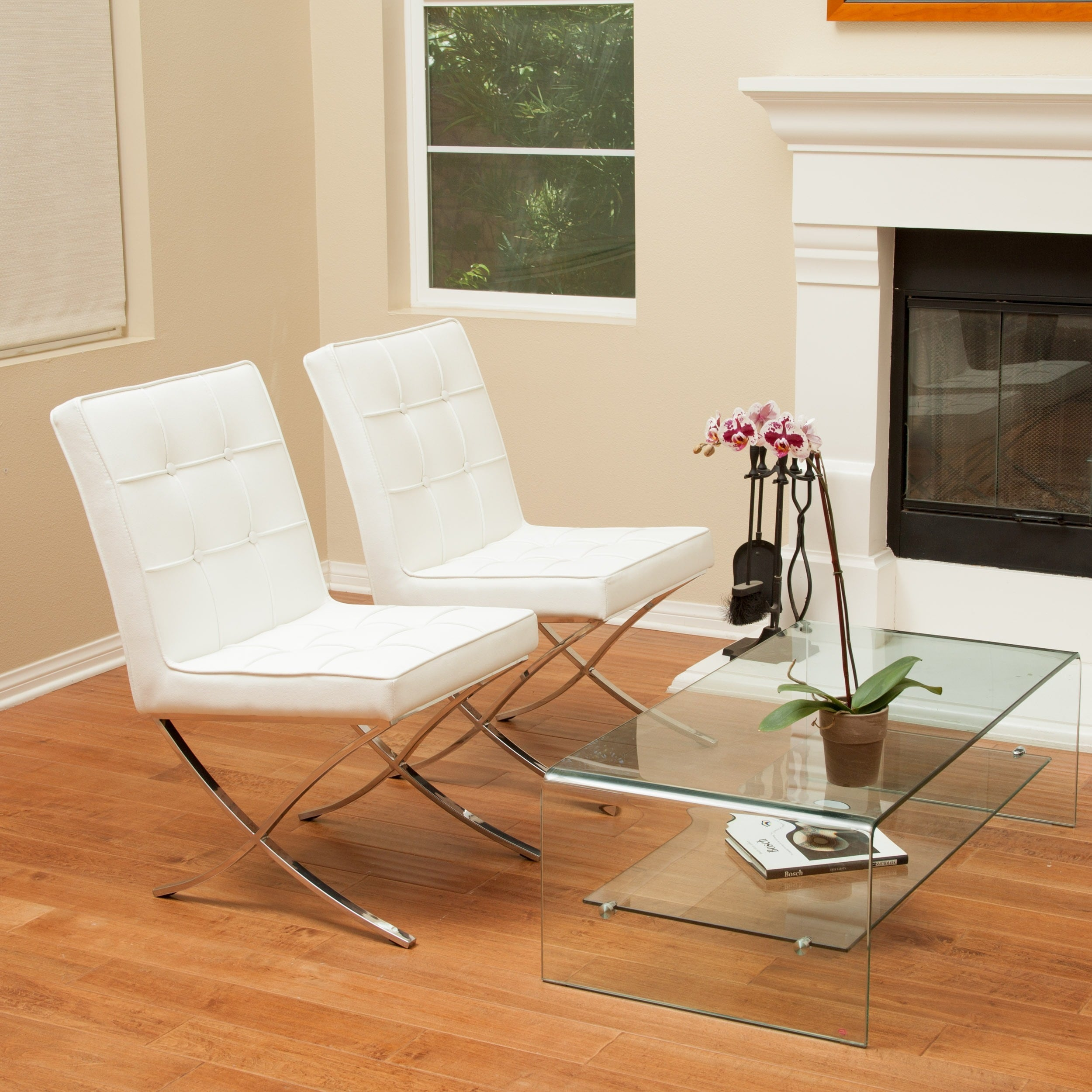 Shop Milania White Leather Dining Chairs (Set Of 2) By Christopher Knight  Home   On Sale   Free Shipping Today   Overstock.com   6787731