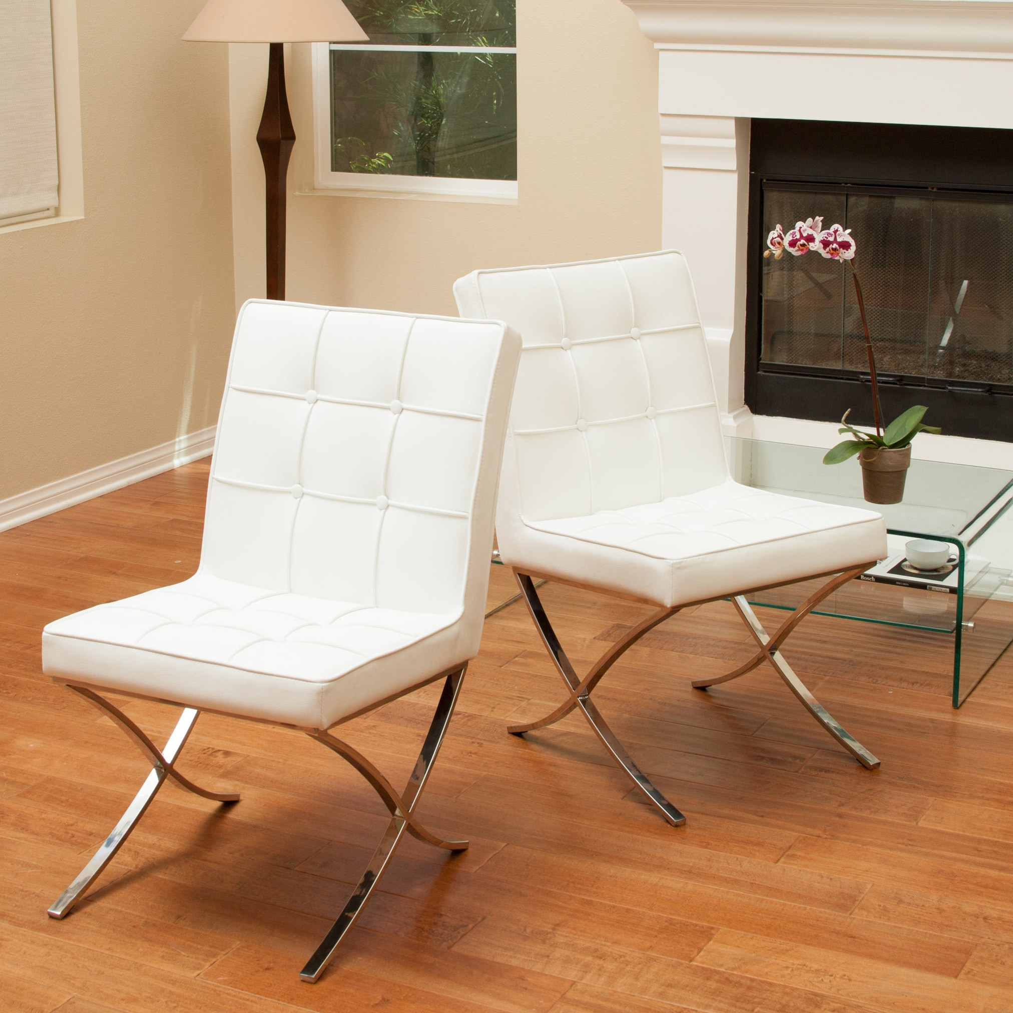 White Leather And Wood Dining Chairs