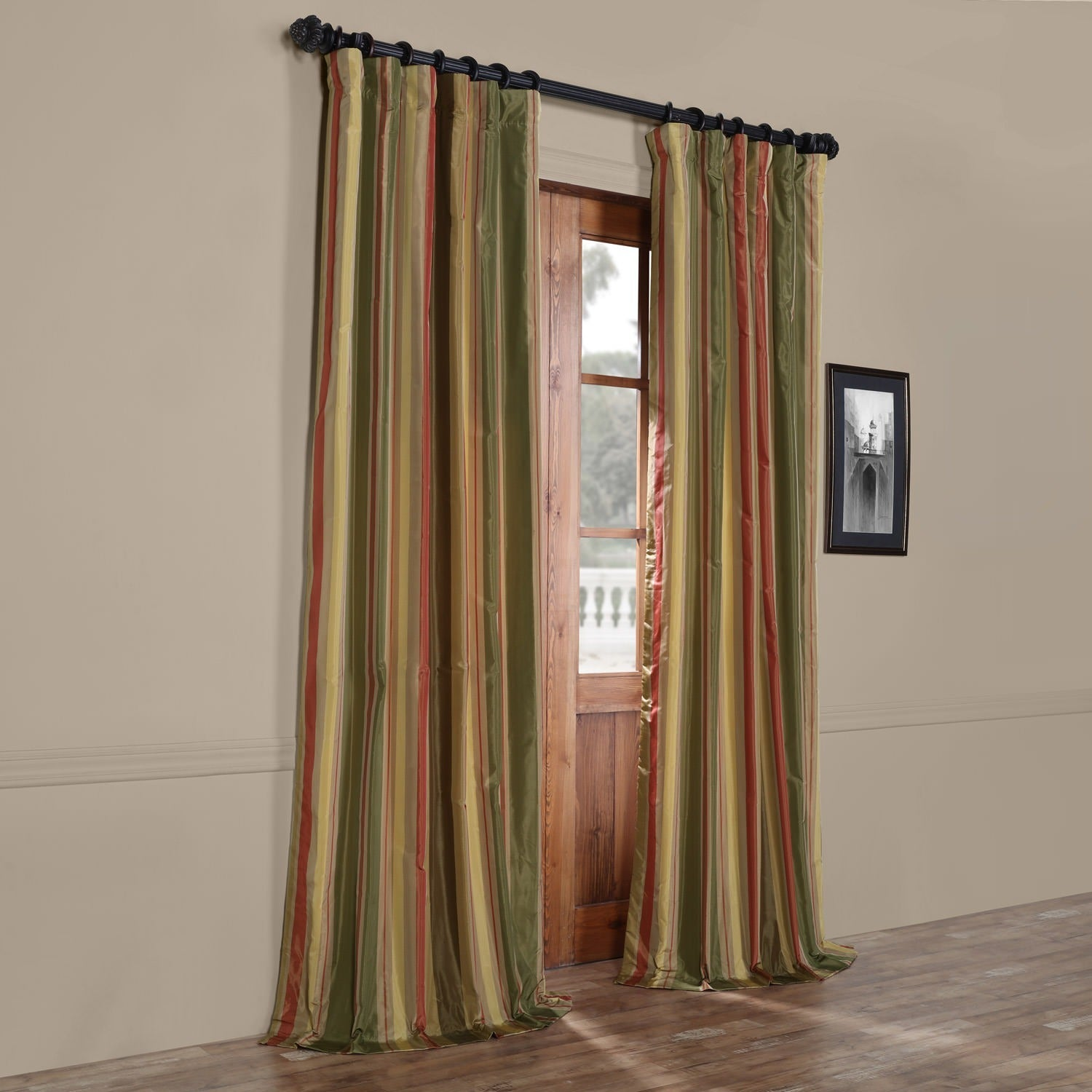 Exclusive Fabrics Signature Stripe Mirage Faux Silk Taffeta Curtain Panel    Free Shipping Today   Overstock.com   14325560
