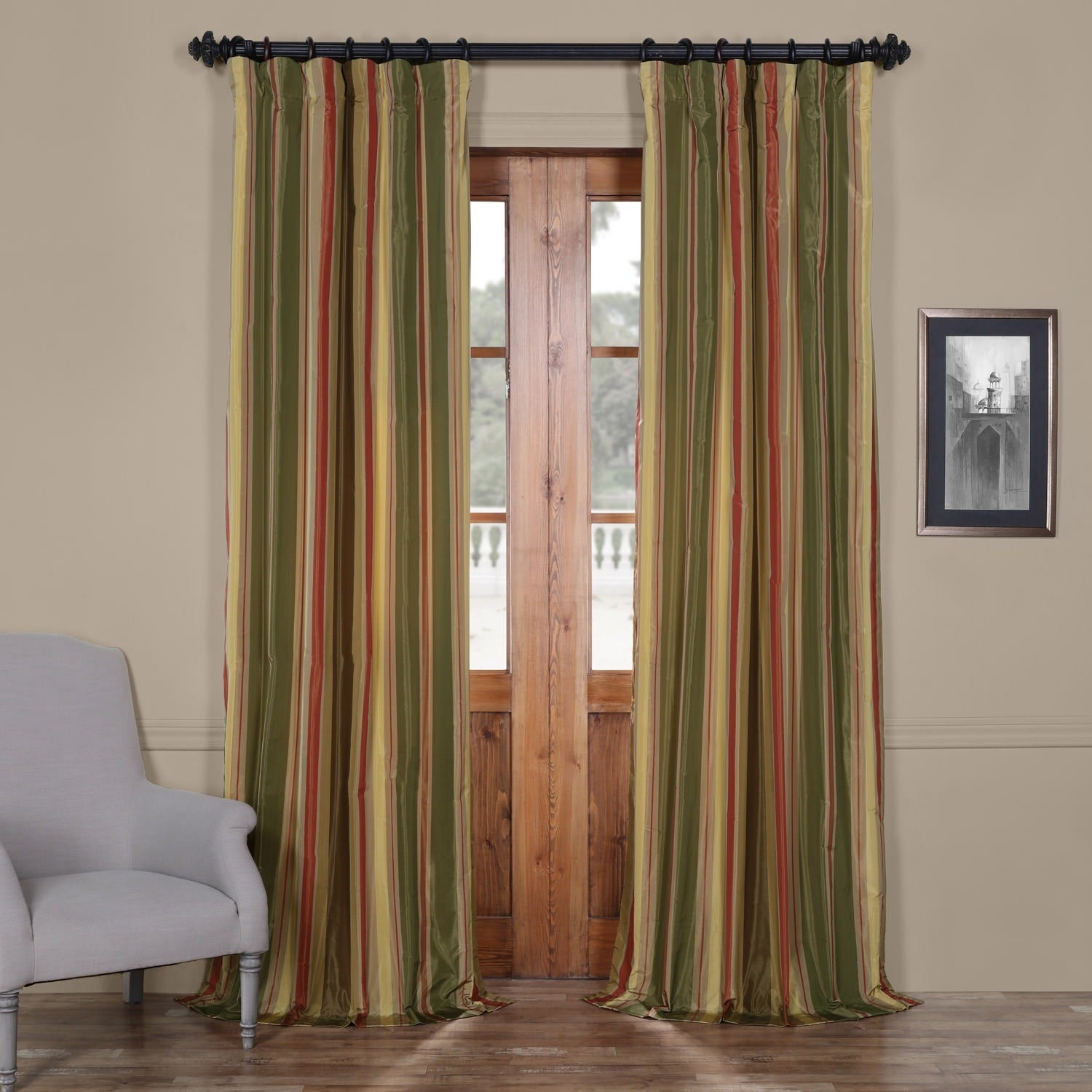 Exclusive Fabrics Signature Stripe Mirage Faux Silk Taffeta Curtain Panel On Free Shipping Today 6788204