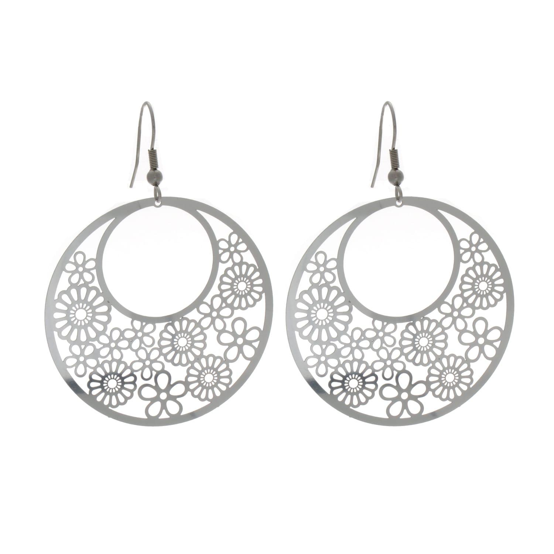 Nexte Jewelry Stainless Steel Three Quarter Moon Design Dangle ...