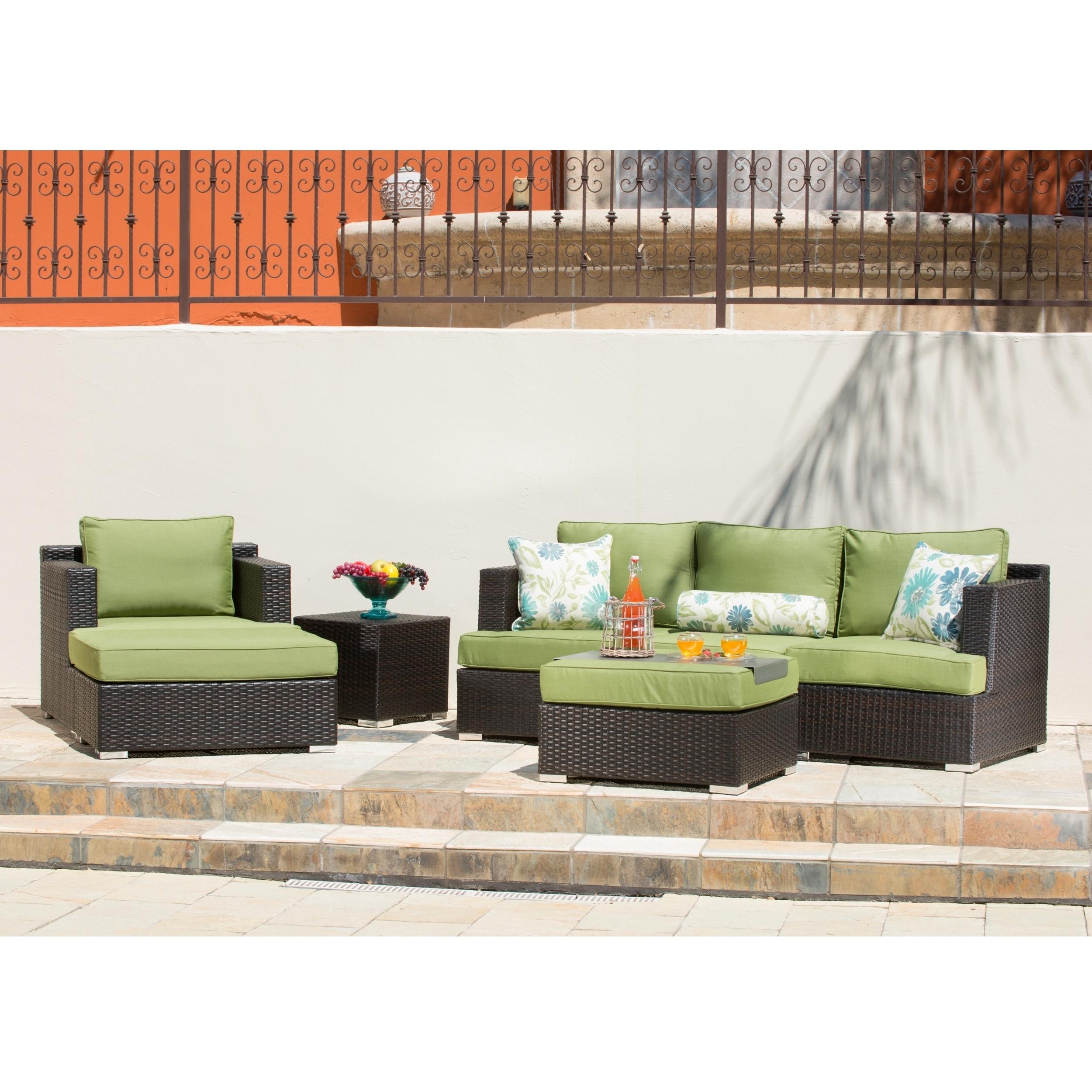 Corvus Morgan Outdoor 7-piece Brown Wicker Sectional Sofa Set with  Sunbrella Cushions